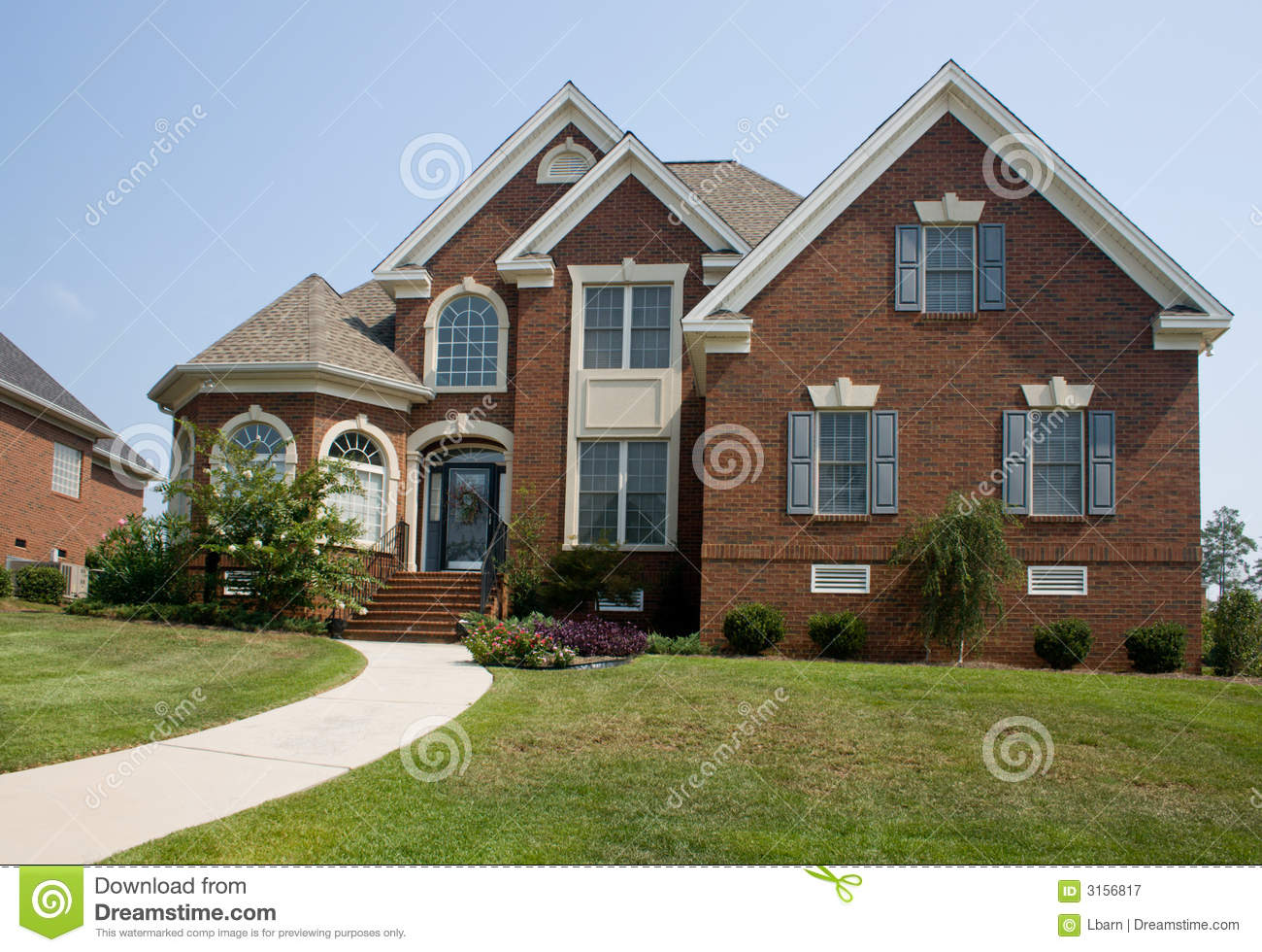 custom brick home stock image image of lawn architecture