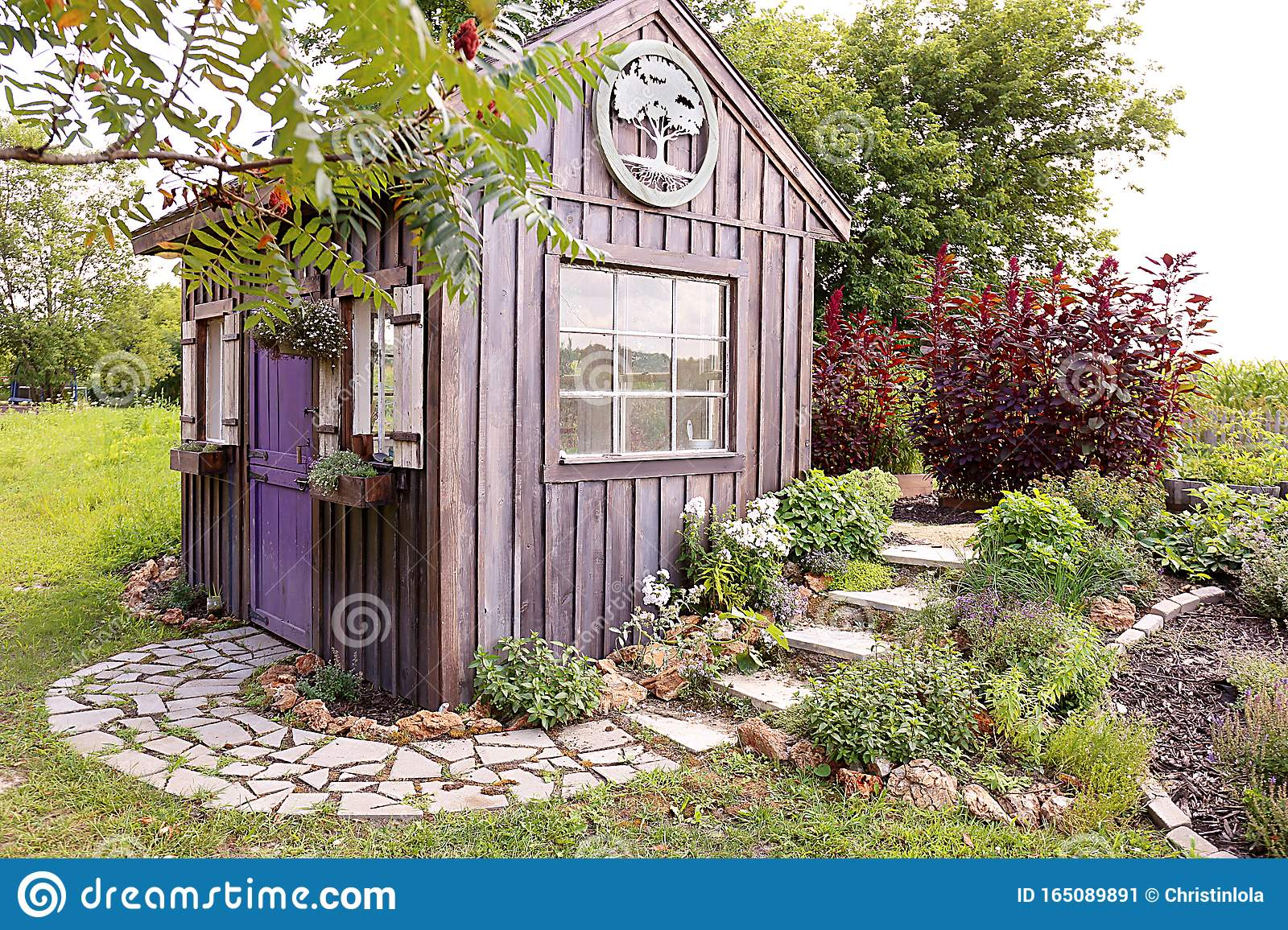Custom Built Cottage Like Garden Shed With Cobblestone Sidewalk And Wood Board And Batten Siding Stock Image Image Of Herbs Life 165089891