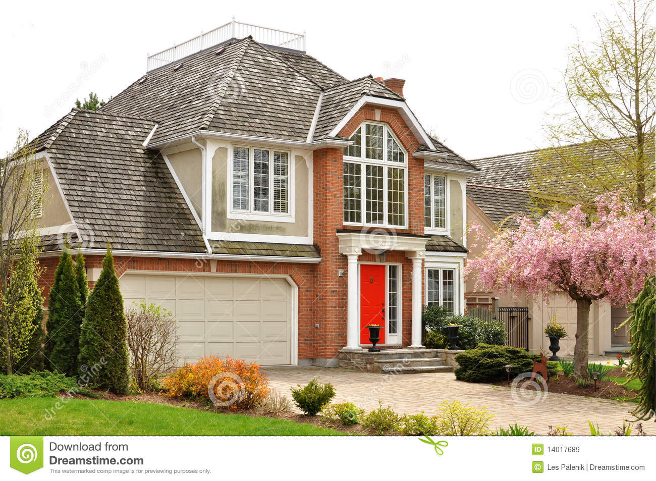 Custom built house with beautiful landscaping royalty free for Custom build house online