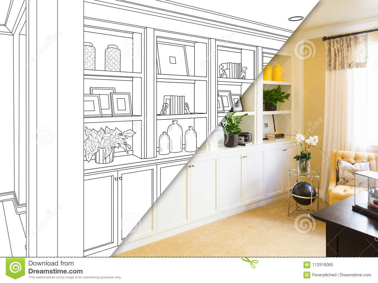 Custom Built-in Shelves and Cabinets Design Drawing Sketch