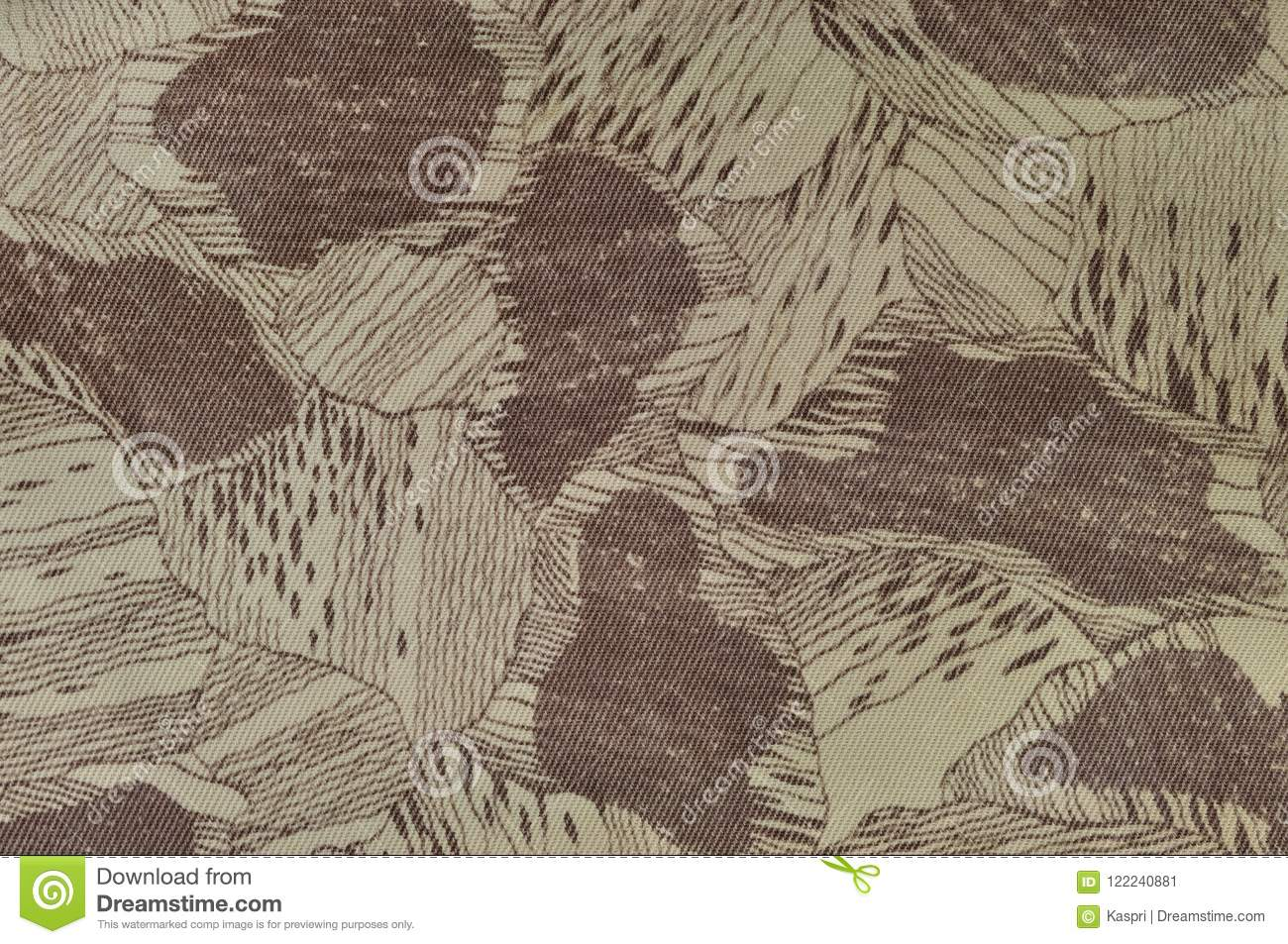 Custom camouflage texture pattern, horizontal pale green tan taupe brown textured camo background, old aged weathered cotton twill