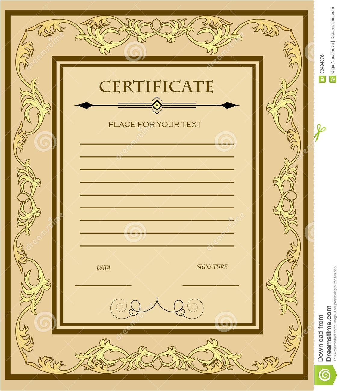 Custom Certificate Template With Gold Ornament Stock Vector