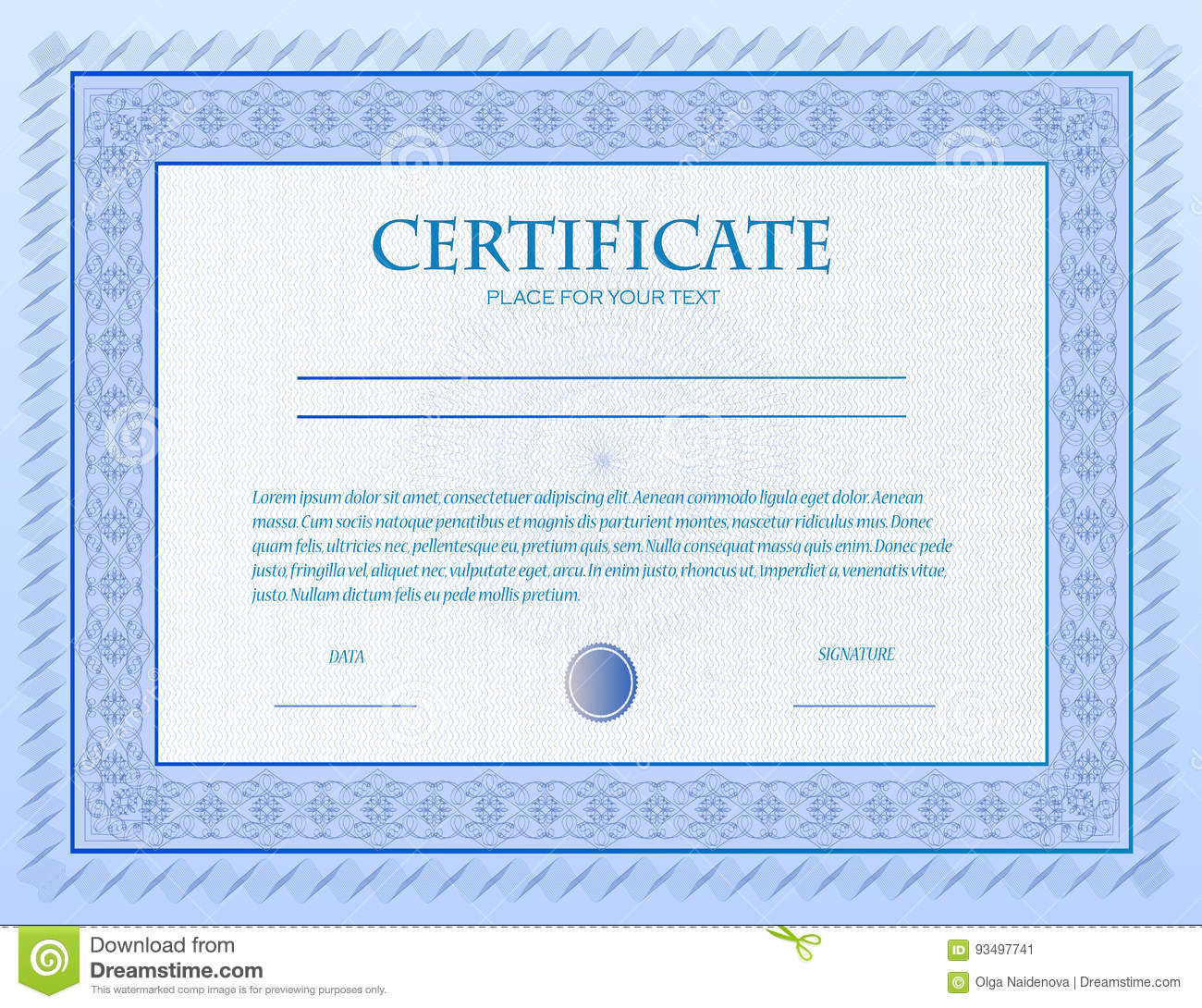 Custom Certificate Template With Guilloche . Stock Vector - Image ...