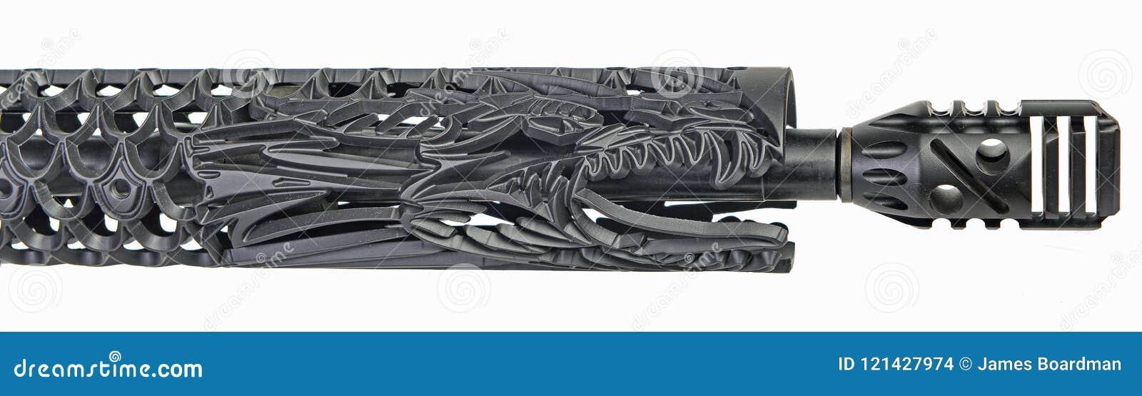 Custom Dragon Hand Guard For An AR15 Stock Photo - Image of
