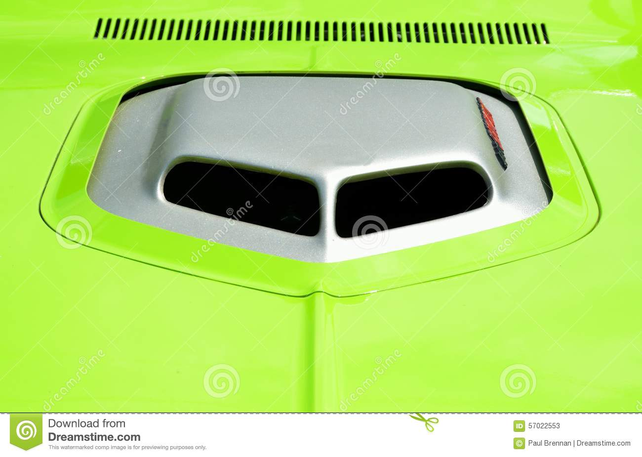 Custom Hood Scoop On Neon Green Car Stock Image Image Of Custom