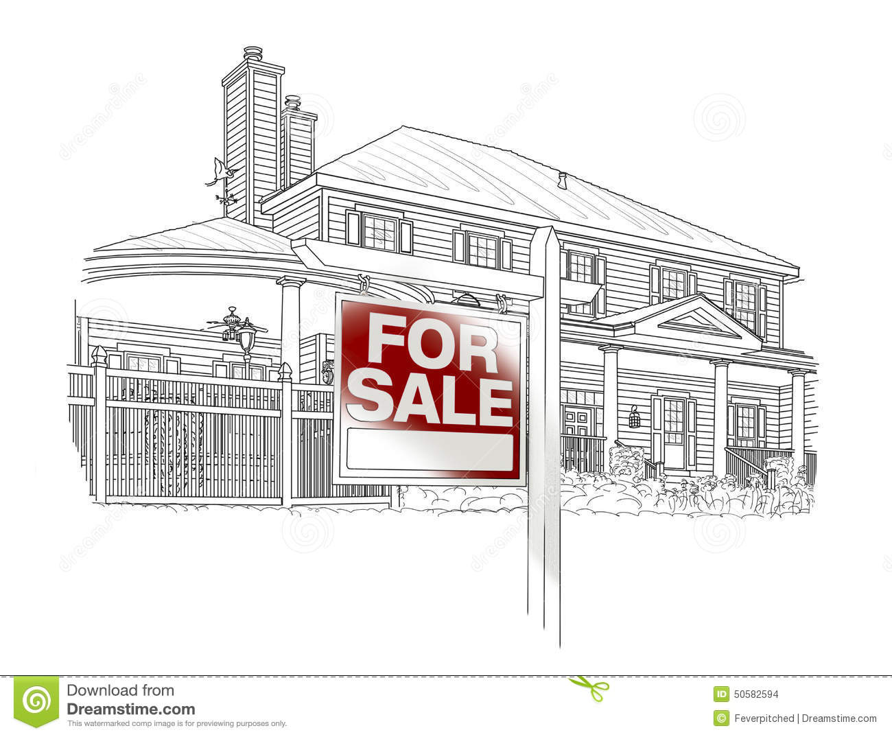 Custom House and Sale Real Estate Sign Drawing on White