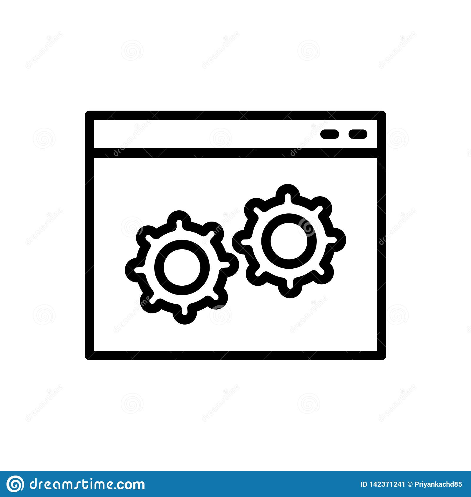 Black line icon for Custom, software and program