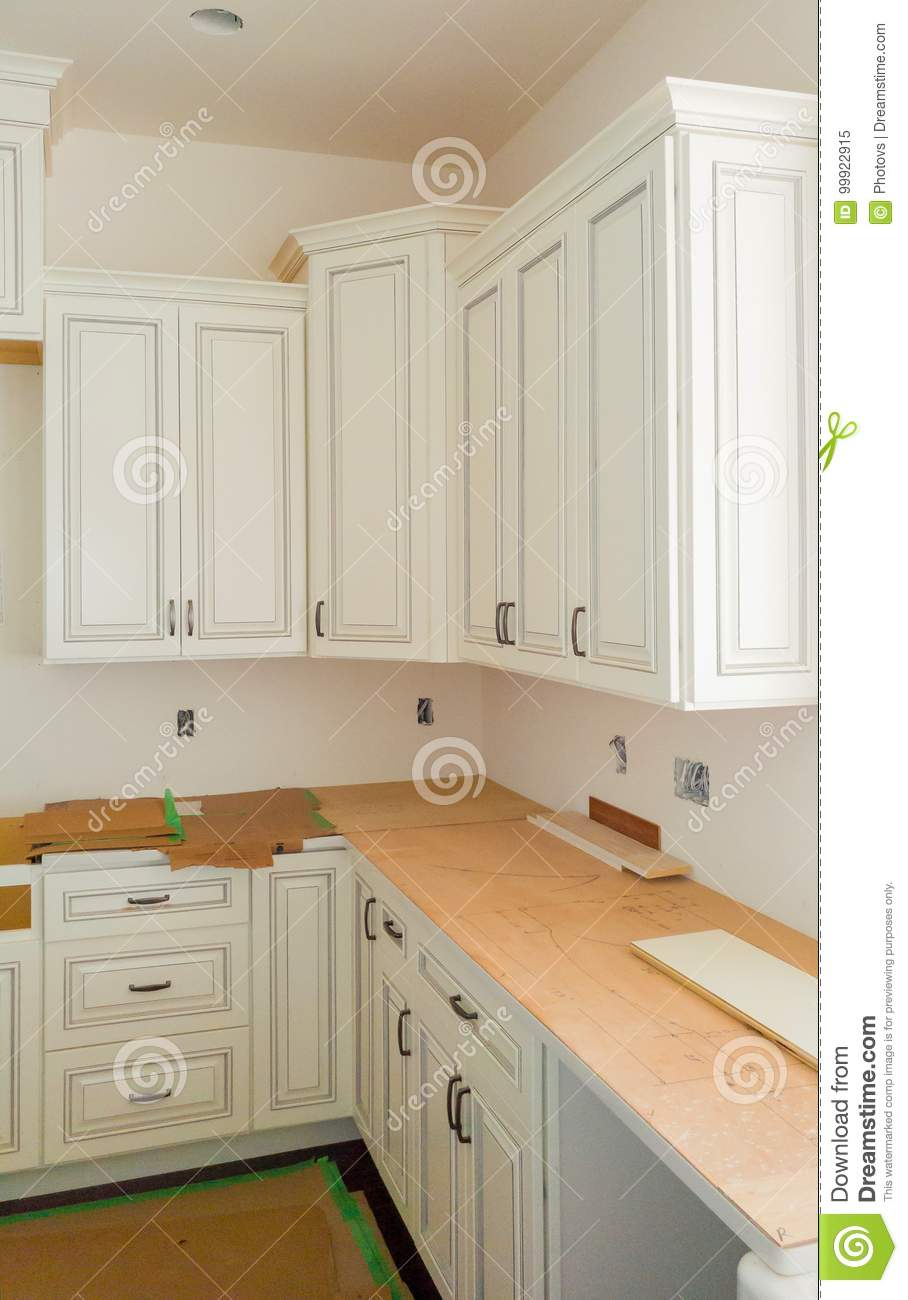 Custom Kitchen Cabinets In Various Stages Of Installation Base For ...