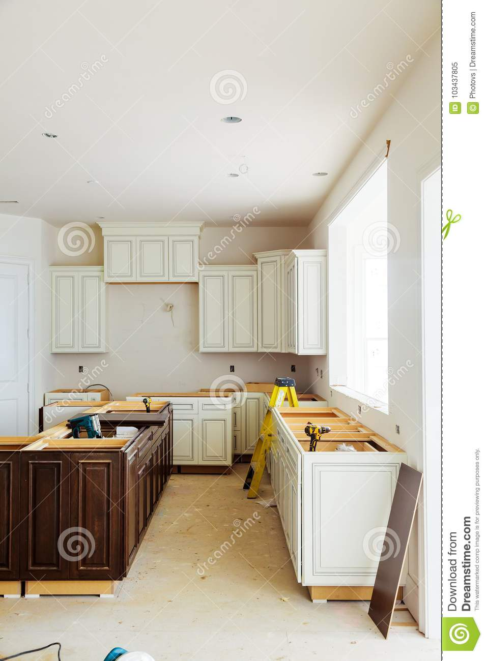 Custom Kitchen Cabinets In Various Stages Of Installation ...
