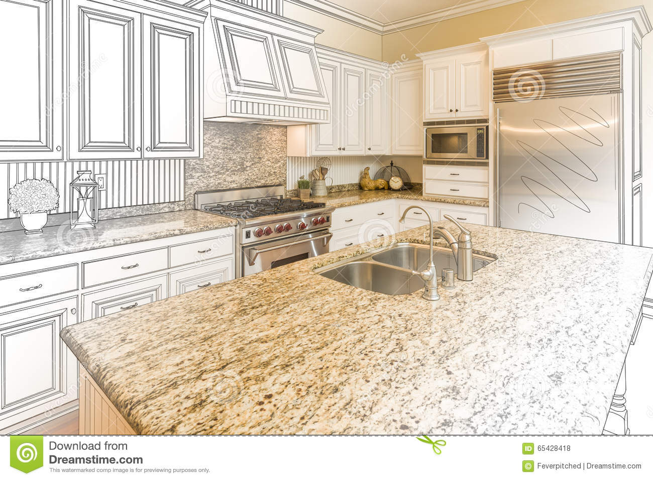 Gradated cartoons illustrations vector stock images for Kitchen design drawing