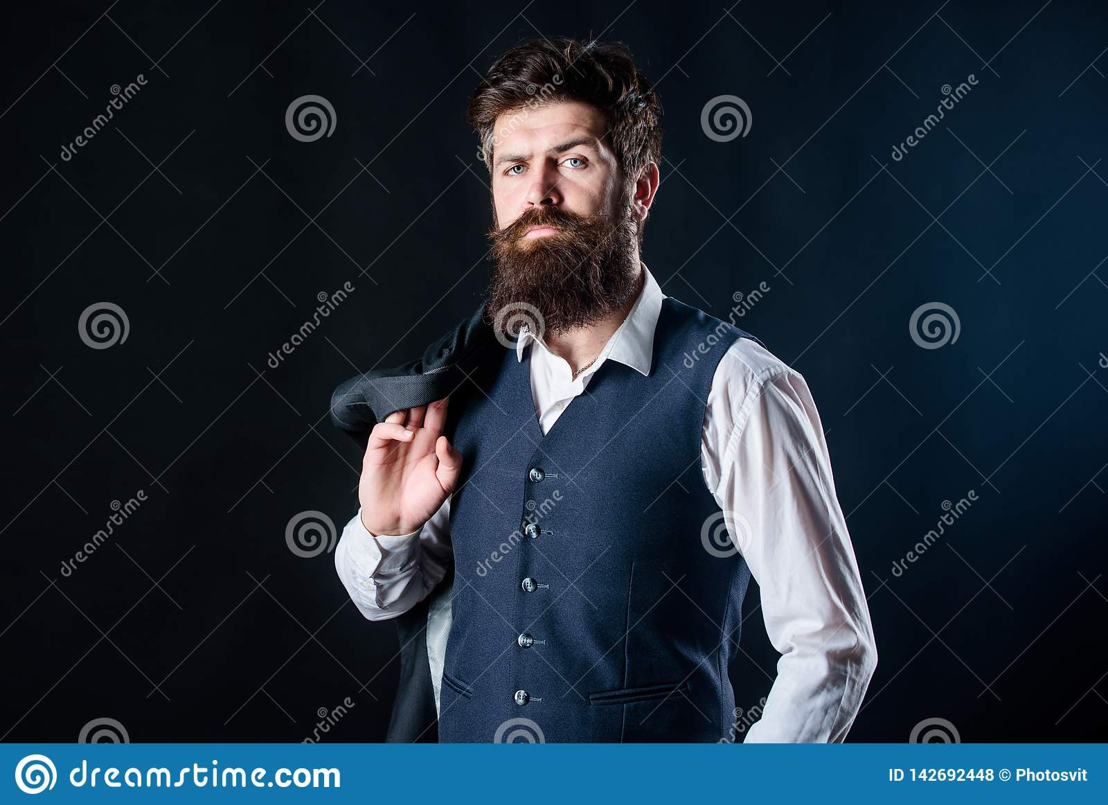 Custom made suit. Man bearded hipster wear formal suit with shirt vest and jacket. Elegant custom outfit fashion