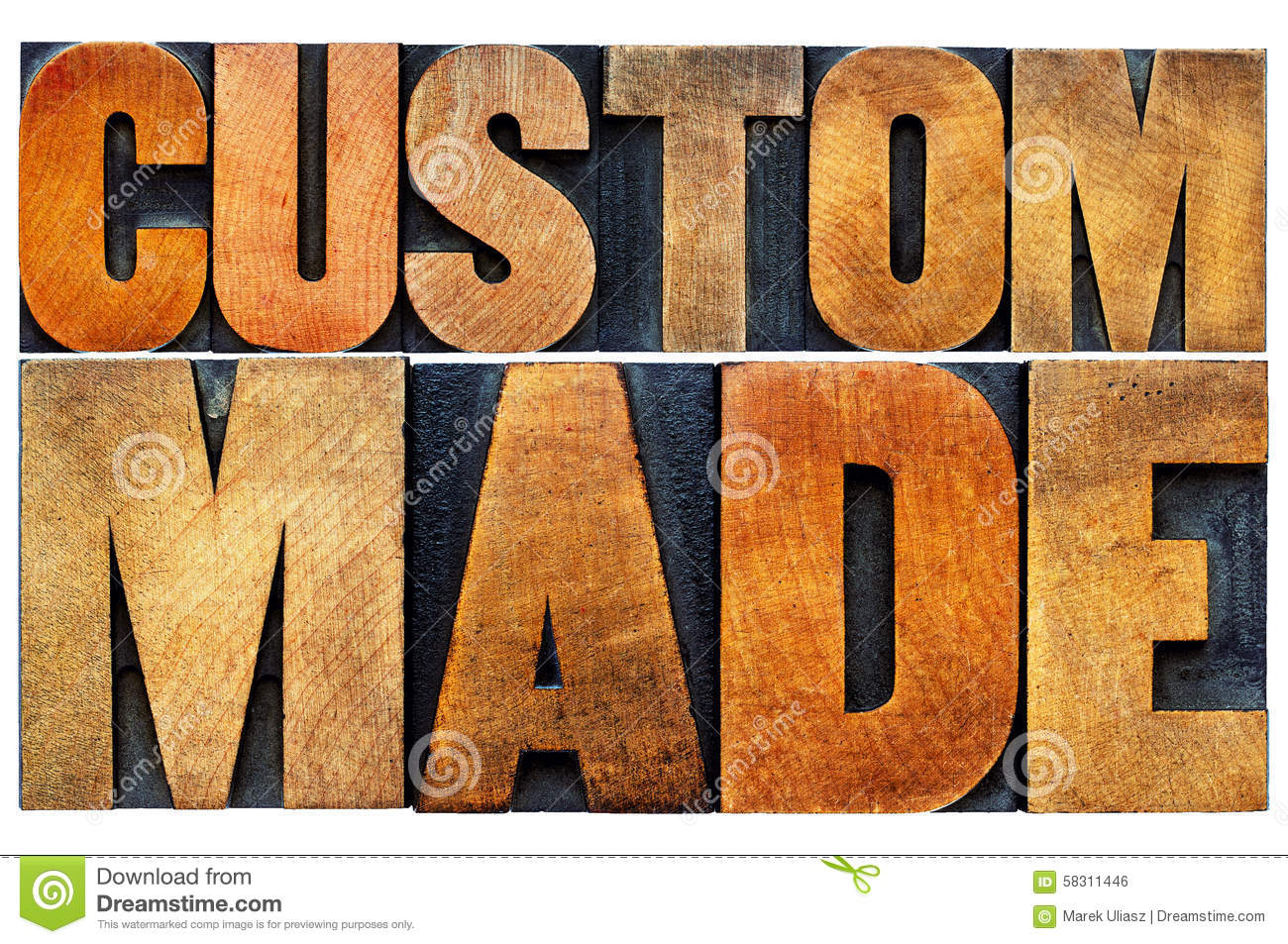 Custom Made Word Abstract Typography Stock Photo