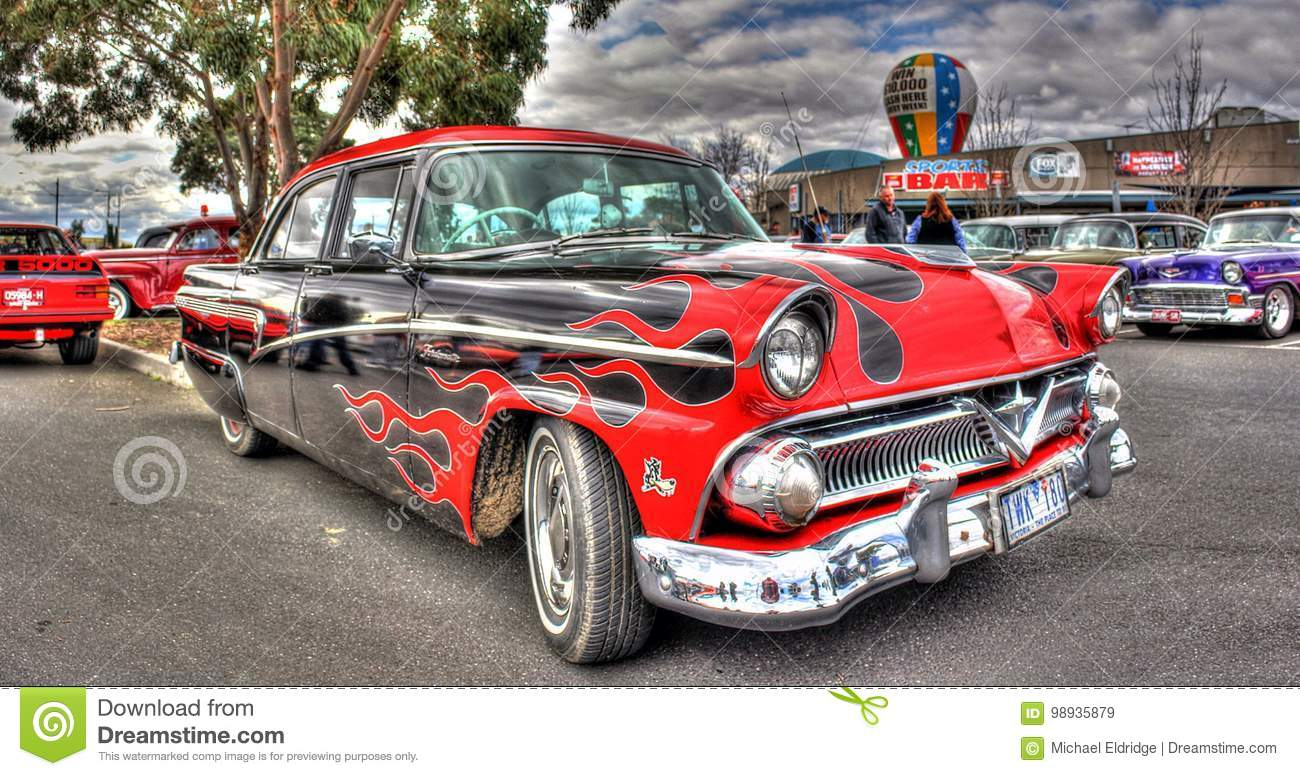 Custom Painted 1950s American Ford Editorial Stock Image - Image of ...