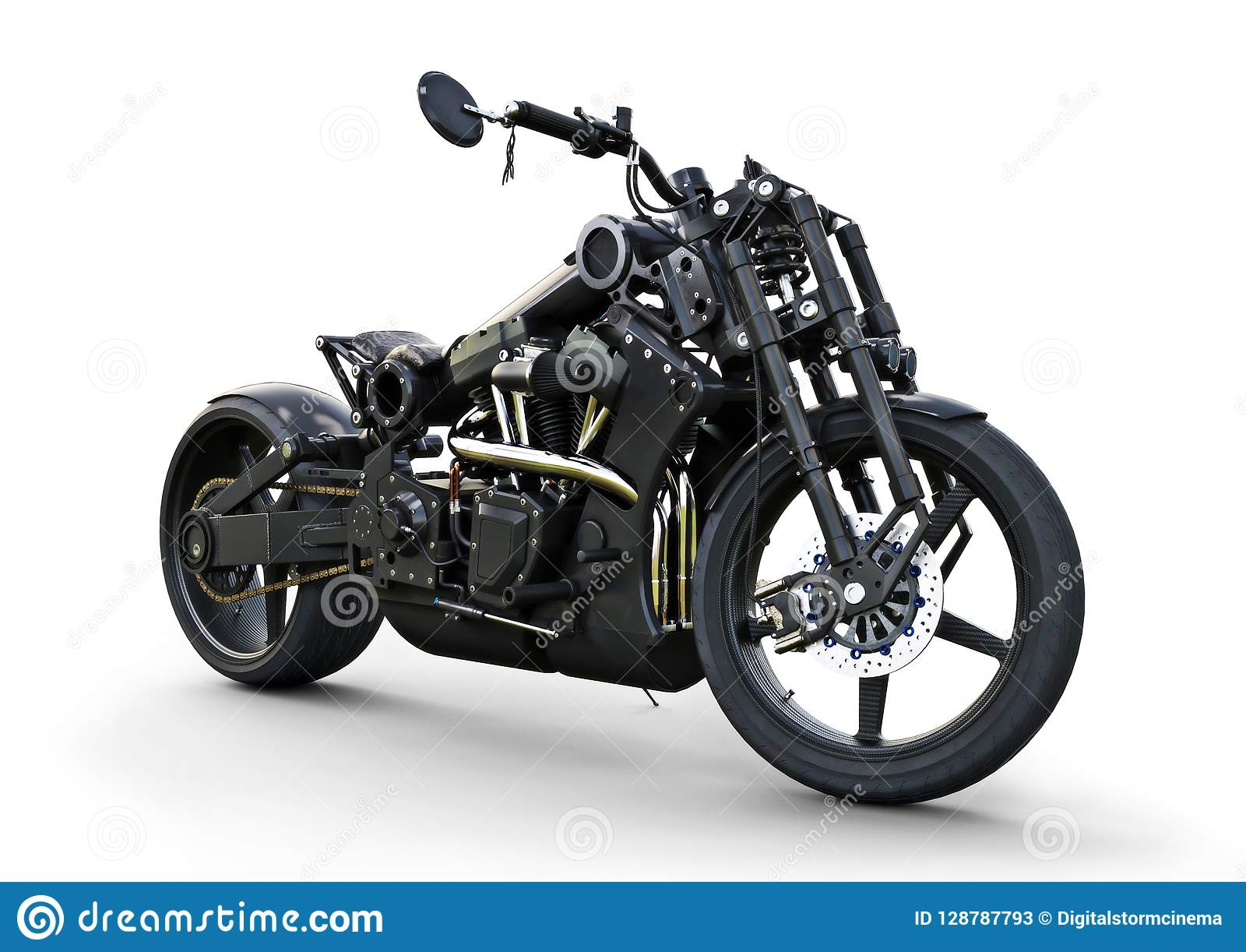 Custom street motorcycle with a racy modern style.