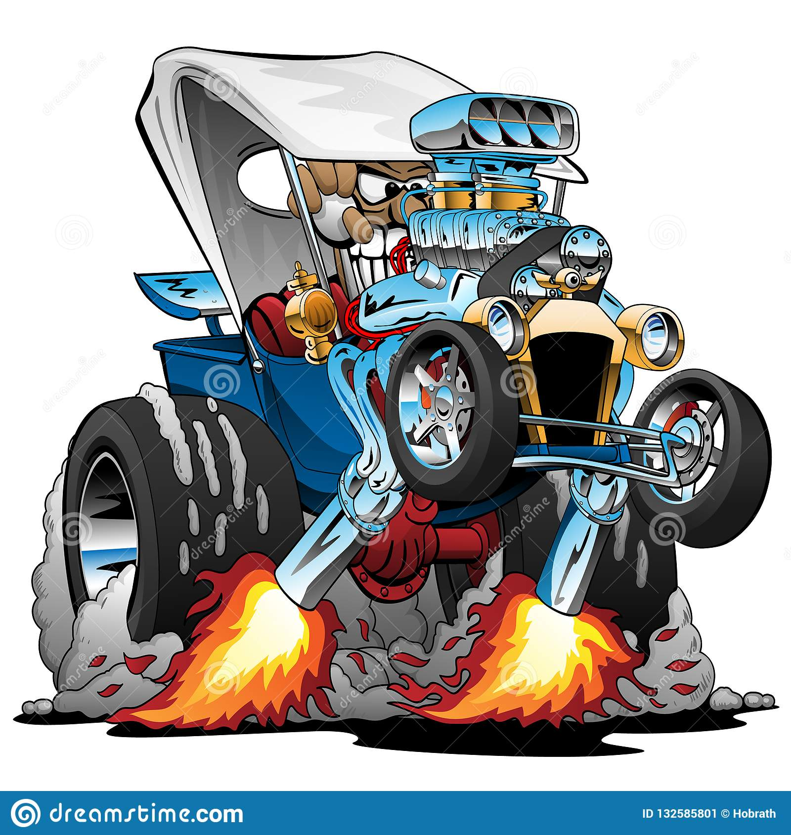 Custom T-bucket Roadster Hotrod Cartoon Vector Illustration