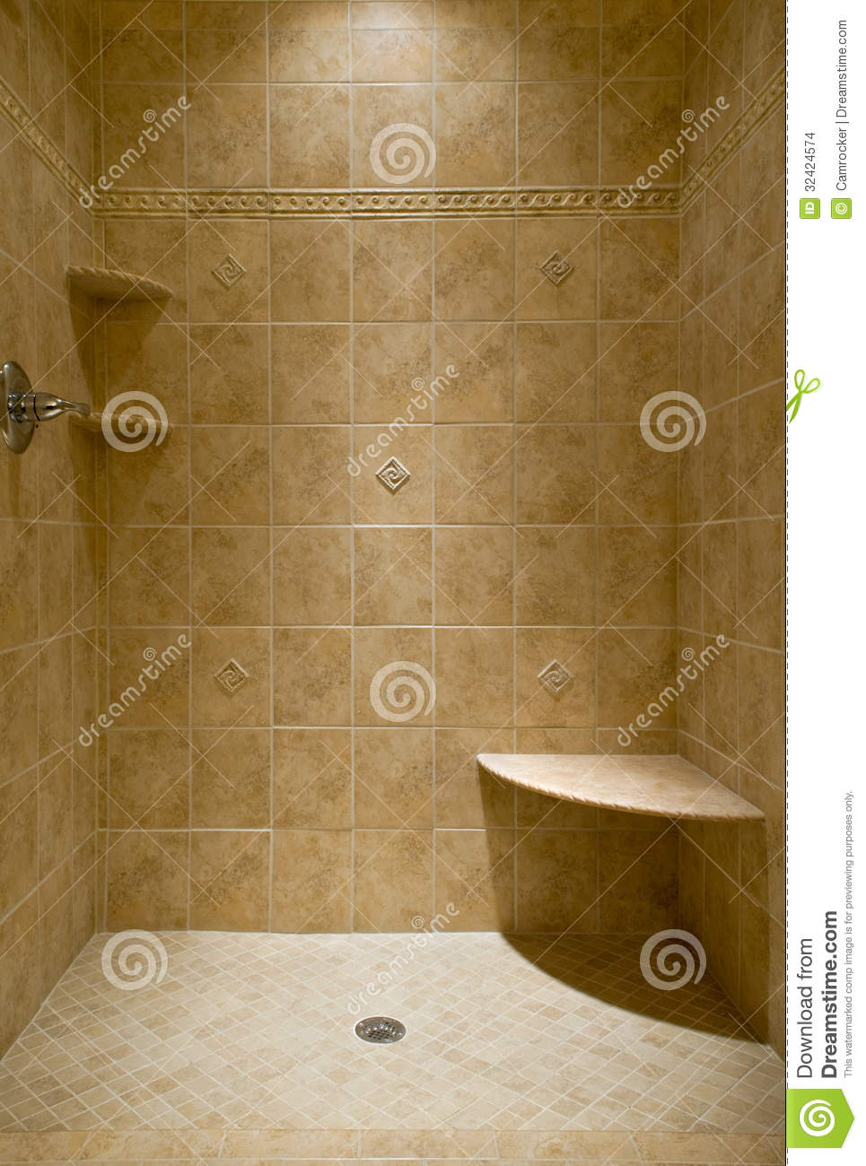 Custom tiled stand up shower stock photo image 32424574 for Bathroom stand up shower designs