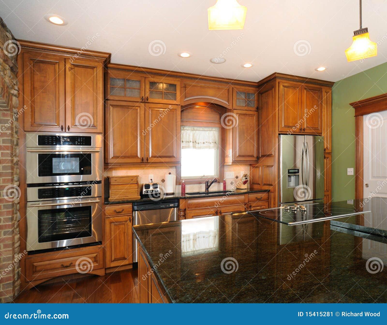 Custom Upscale Kitchen Cabinets Stock Image