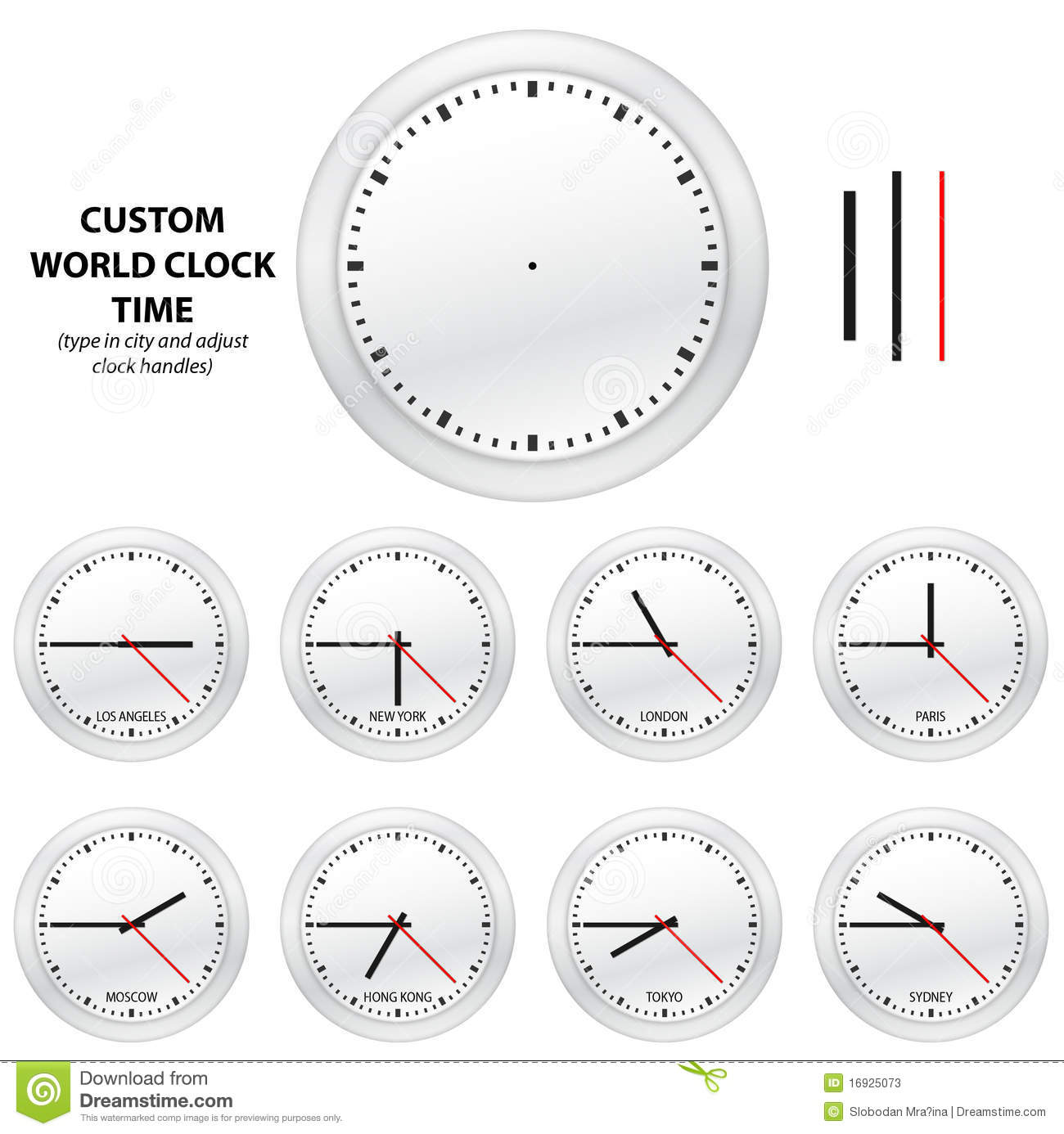 Custom World Clock Time Editable Vector Edition Stock