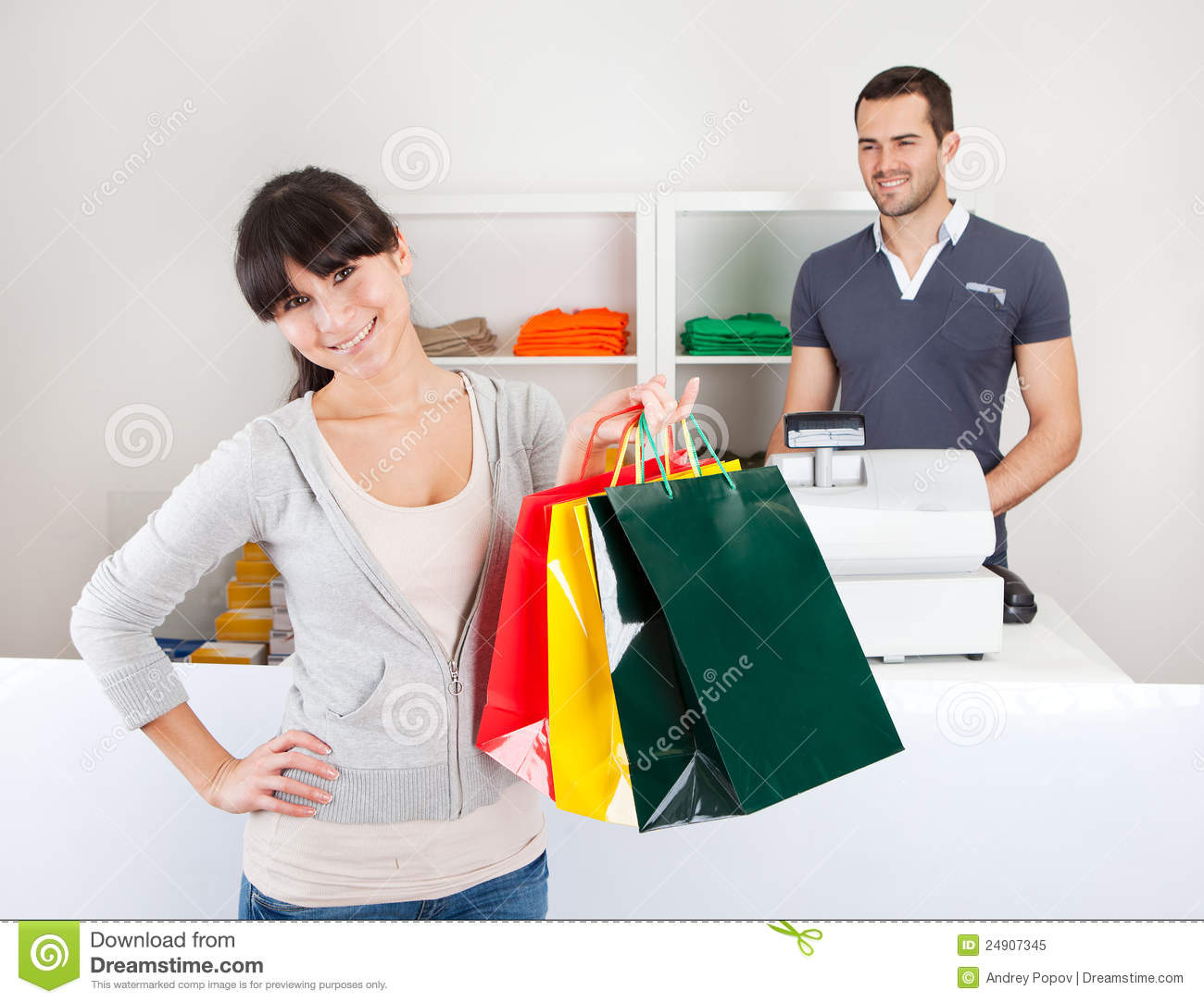 customer buying clothes in shop royalty free stock photo   image
