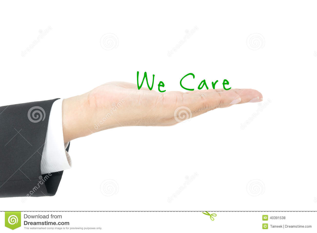 Customer care on hand with white background.