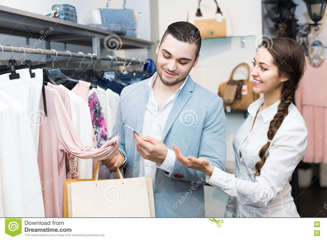 customer consulting shop assistant stock photo image  customer consulting shop assistant