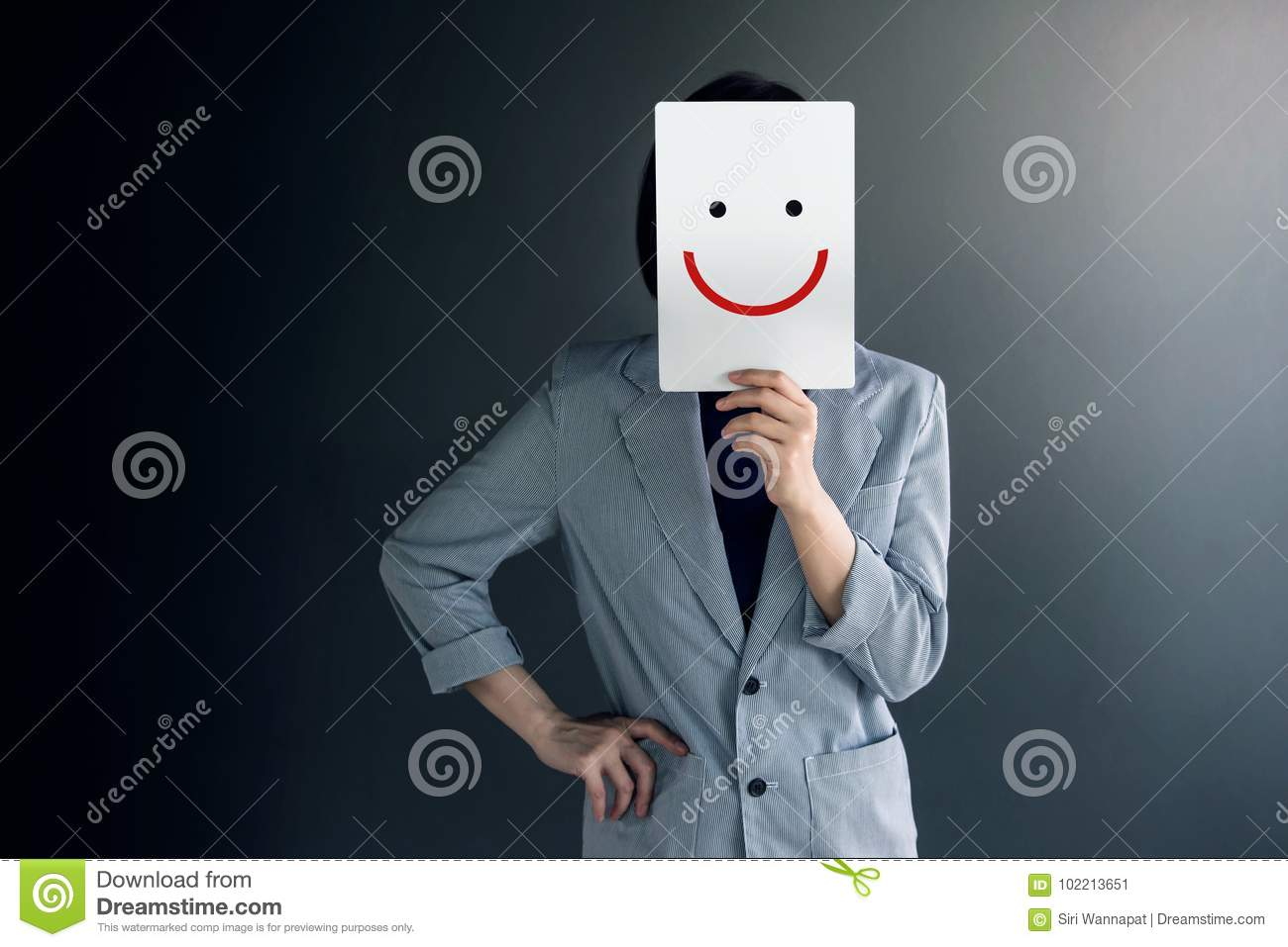 Customer Experience Concept, Portrait of Client with Feeling Hap