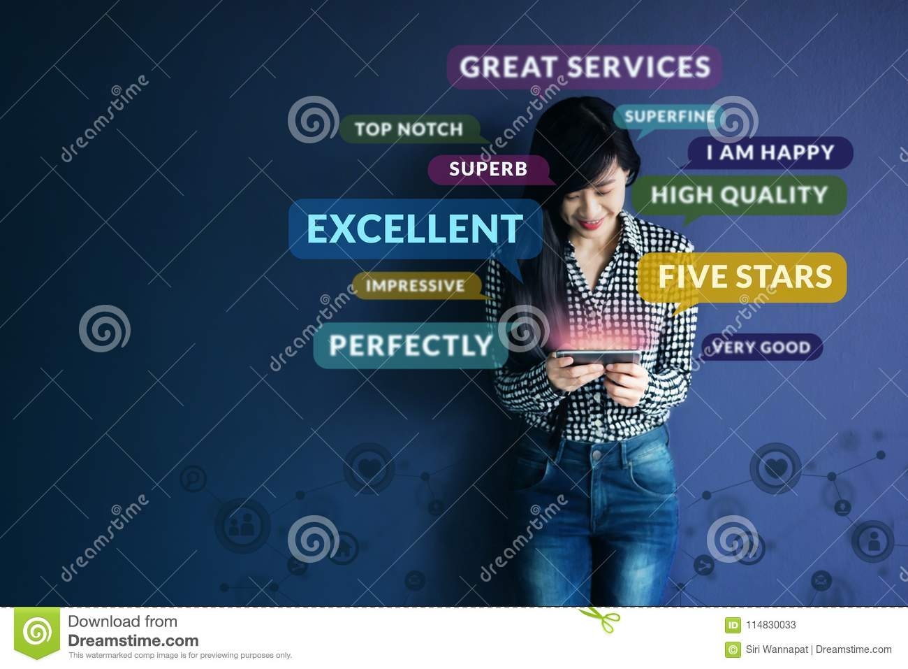 Customer Experience Concept. Soft focus of Happy Client standing