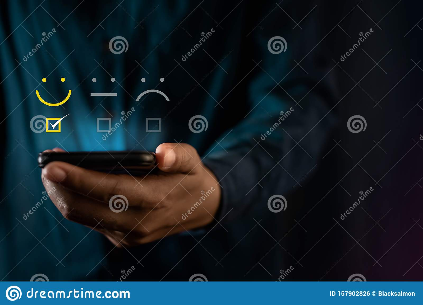 Customer Experiences Concept. Modern Man Giving a Smiling Emoticon Rating, Positive Review via Smartphone. Client`s Satisfaction