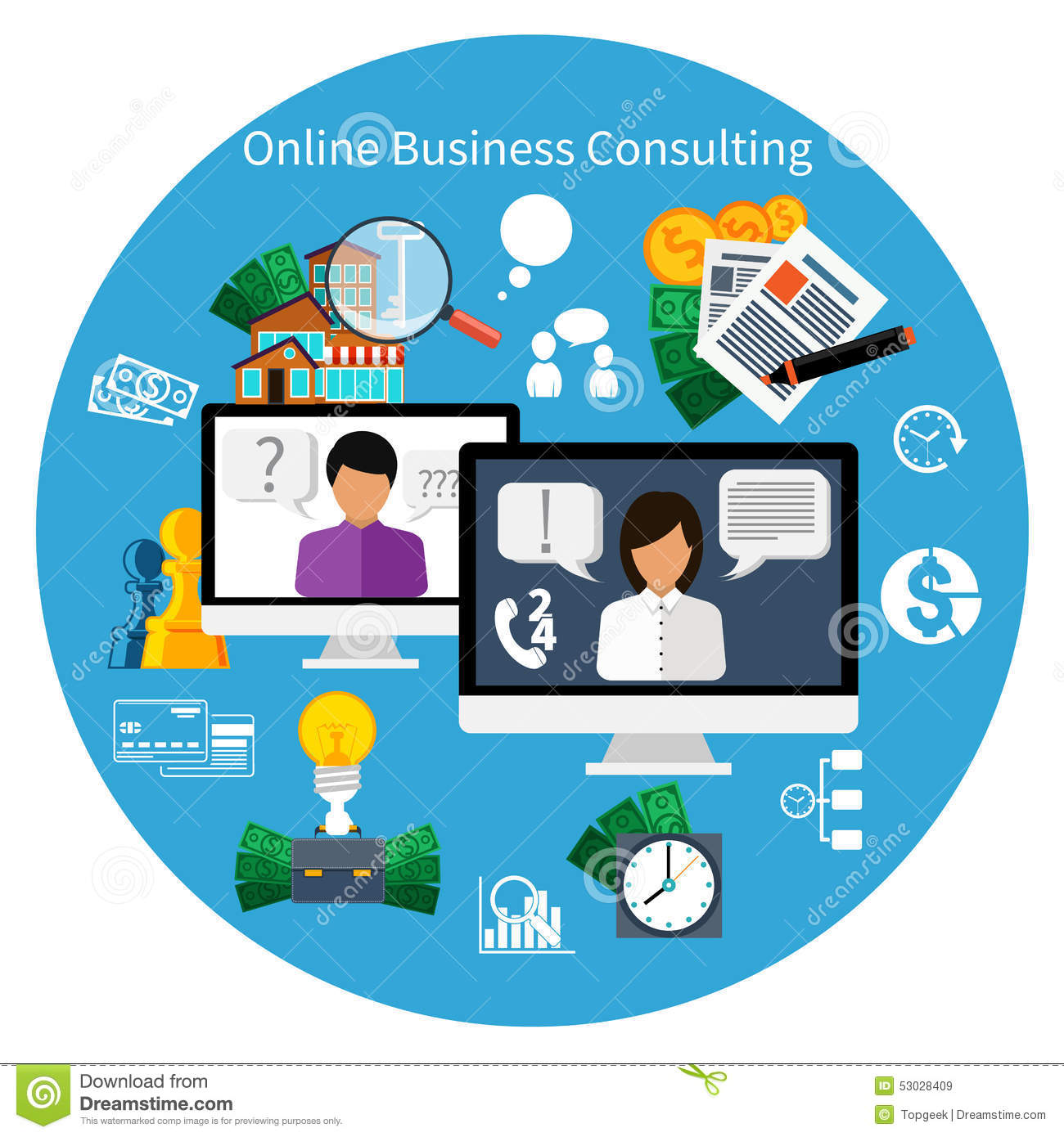 Customer online consulting service concept stock vector for Online architect services