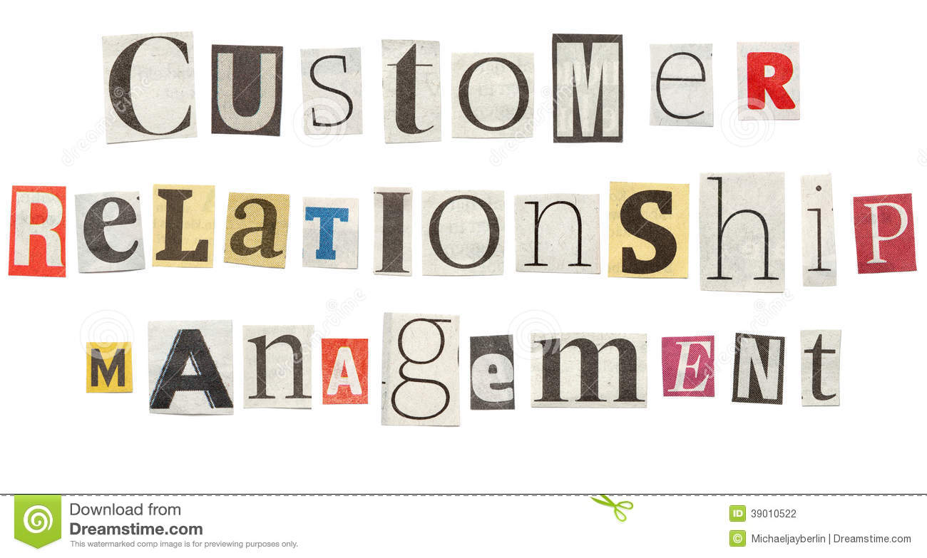 Customer Relationship Management Cutout Newspaper Letters Stock