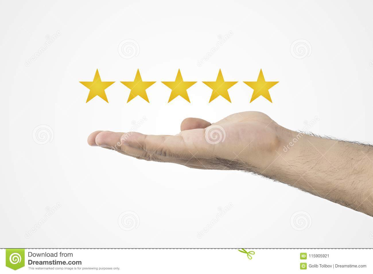 Customer review concept.. Rating golden stars. Feedback, reputation and quality concept. Hand holding golden five star rating.