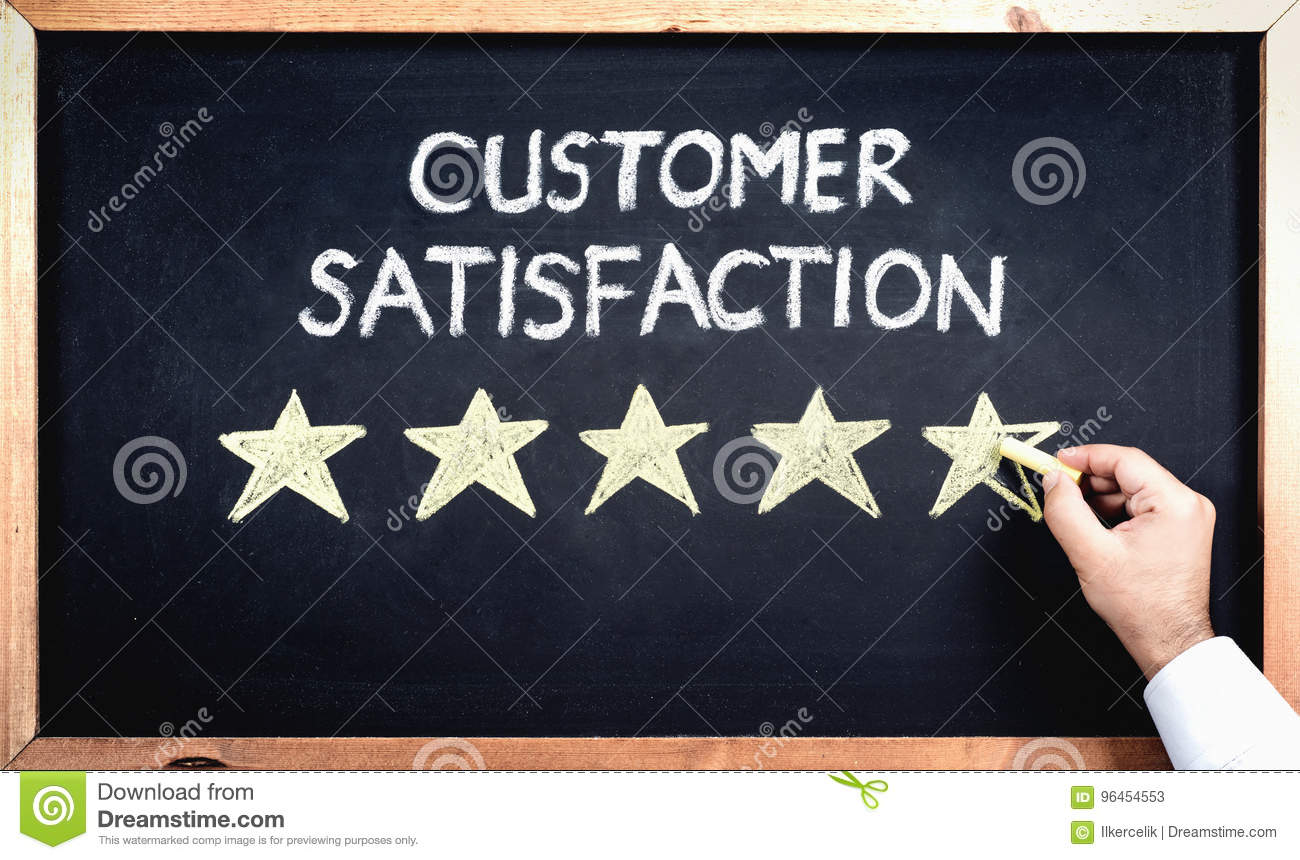 Customer Satisfaction Concept, Man Filling In Rating Stars On Bl