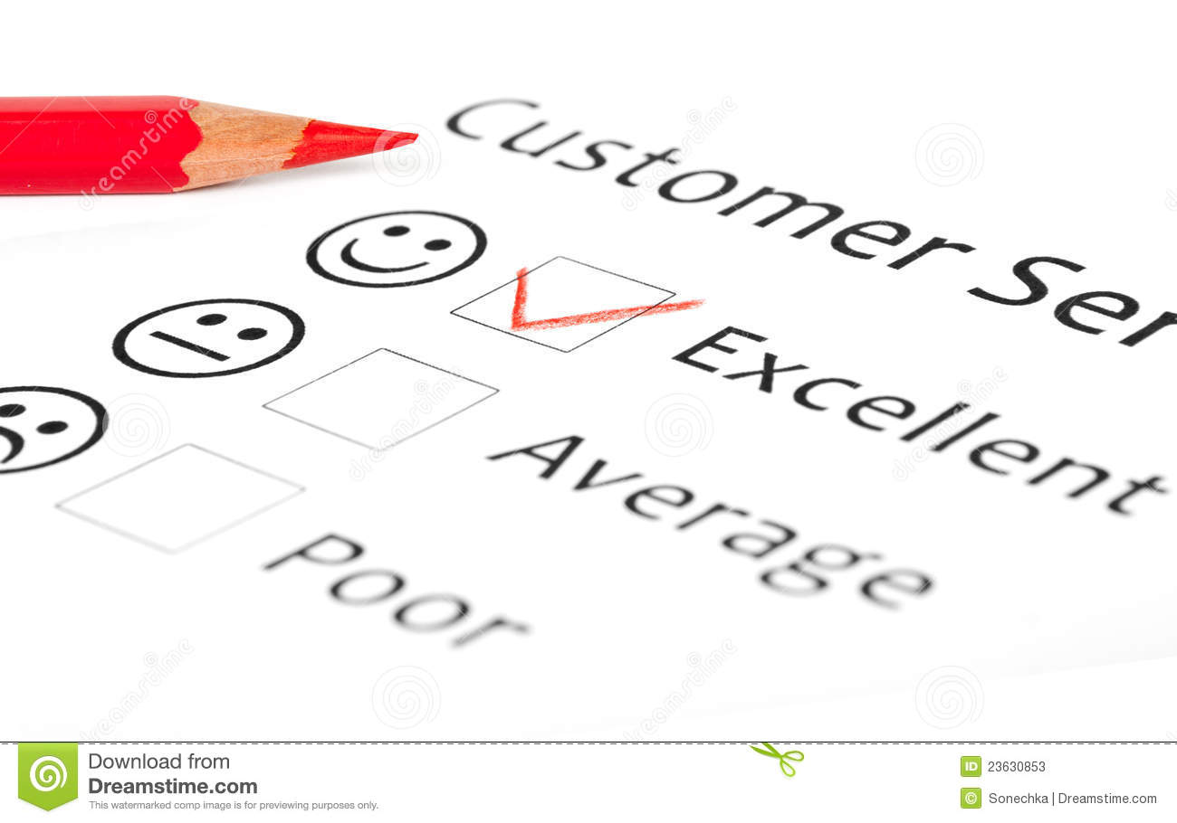 ... satisfaction survey form with checkbox showing marketing concept