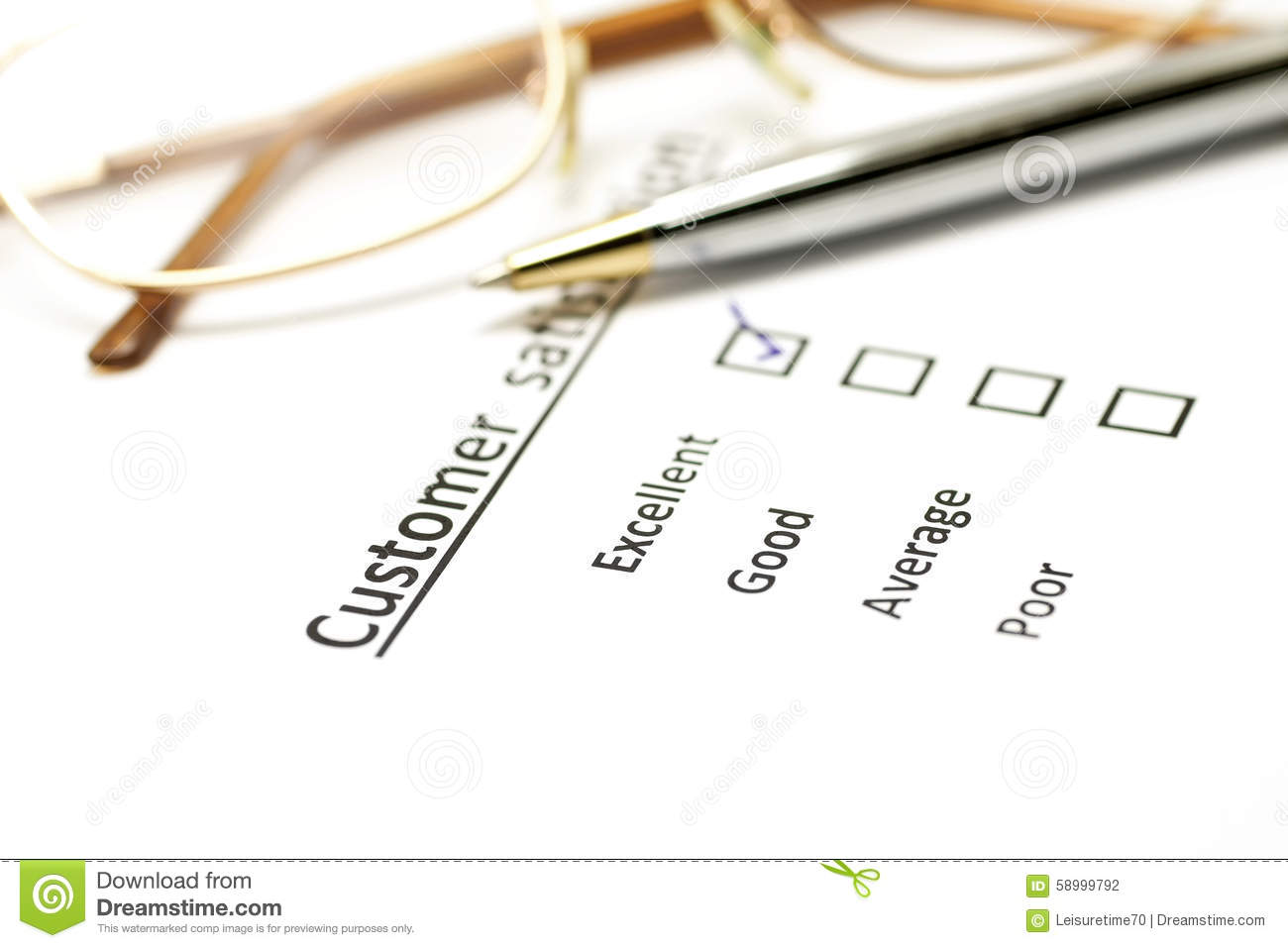 Customer Satisfaction Survey Form With The Pen And Glasses