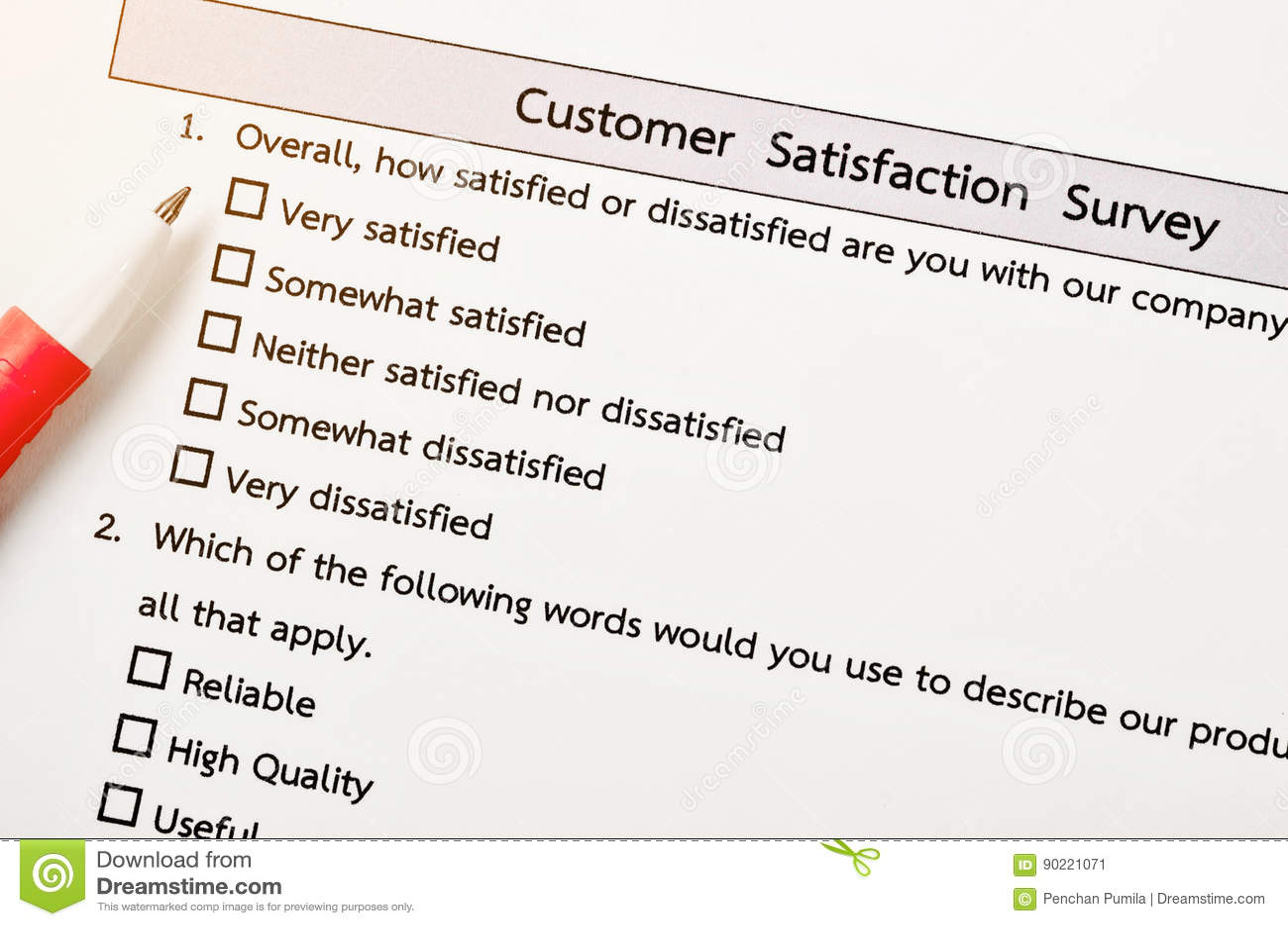 Customer Satisfactory Survey Form  Stock Image - Image of