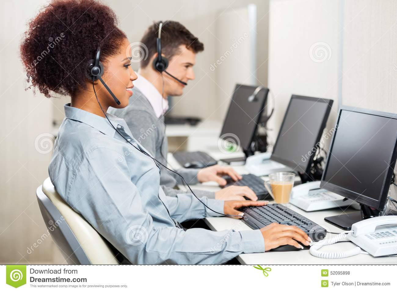 customer service agents working in office stock photo image customer service agents working in office