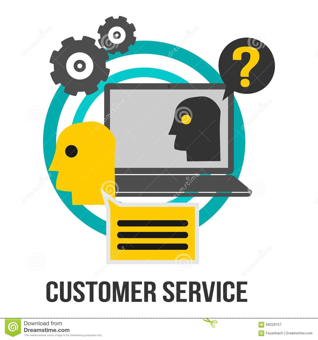 customer service business concept sign laptop gears and customer service business concept sign laptop gears and question mark