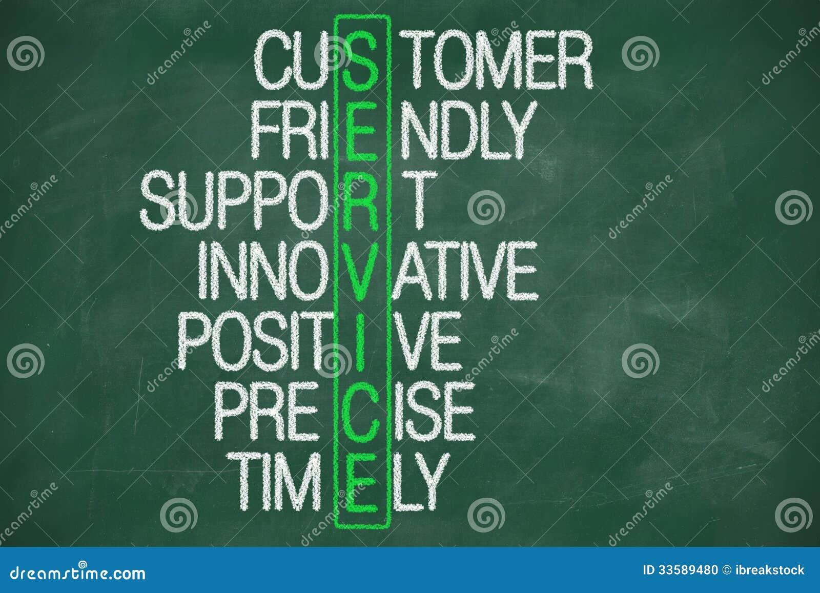 customer service concept on blackboard stock photo