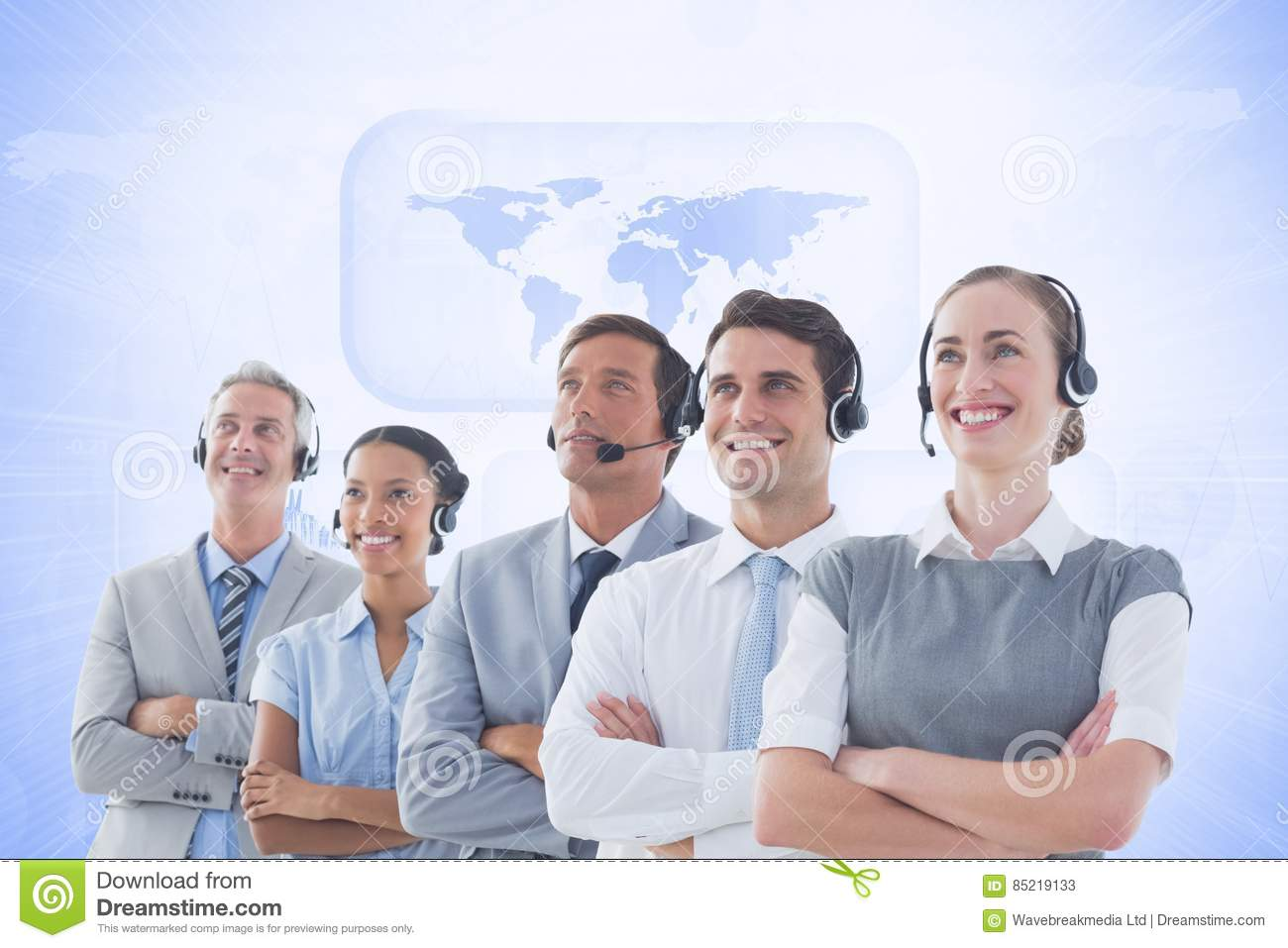 Customer service executives standing with their arms crossed