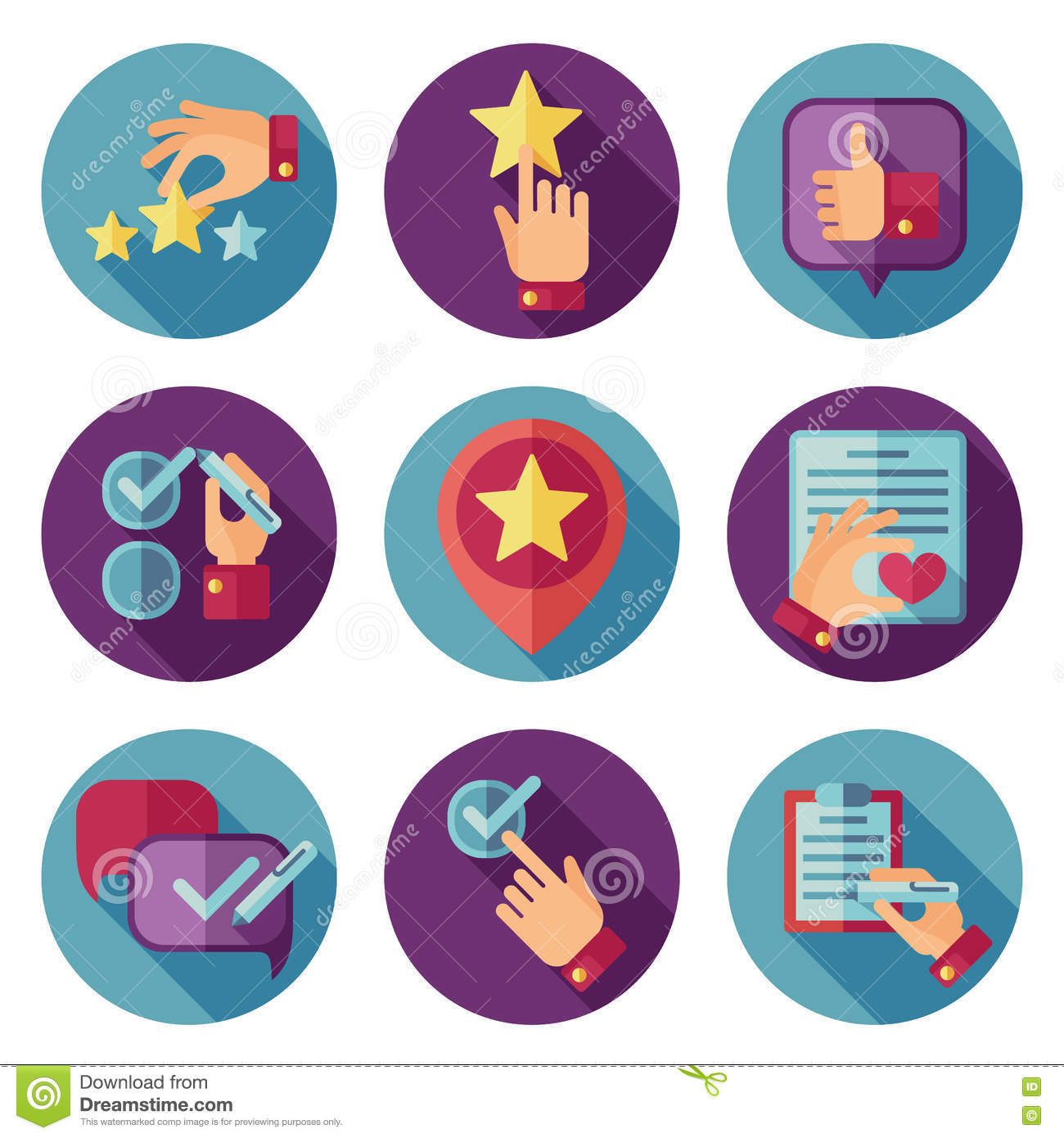 Customer Service Flat Vector Icons Set Stock Vector - Image: 73219260