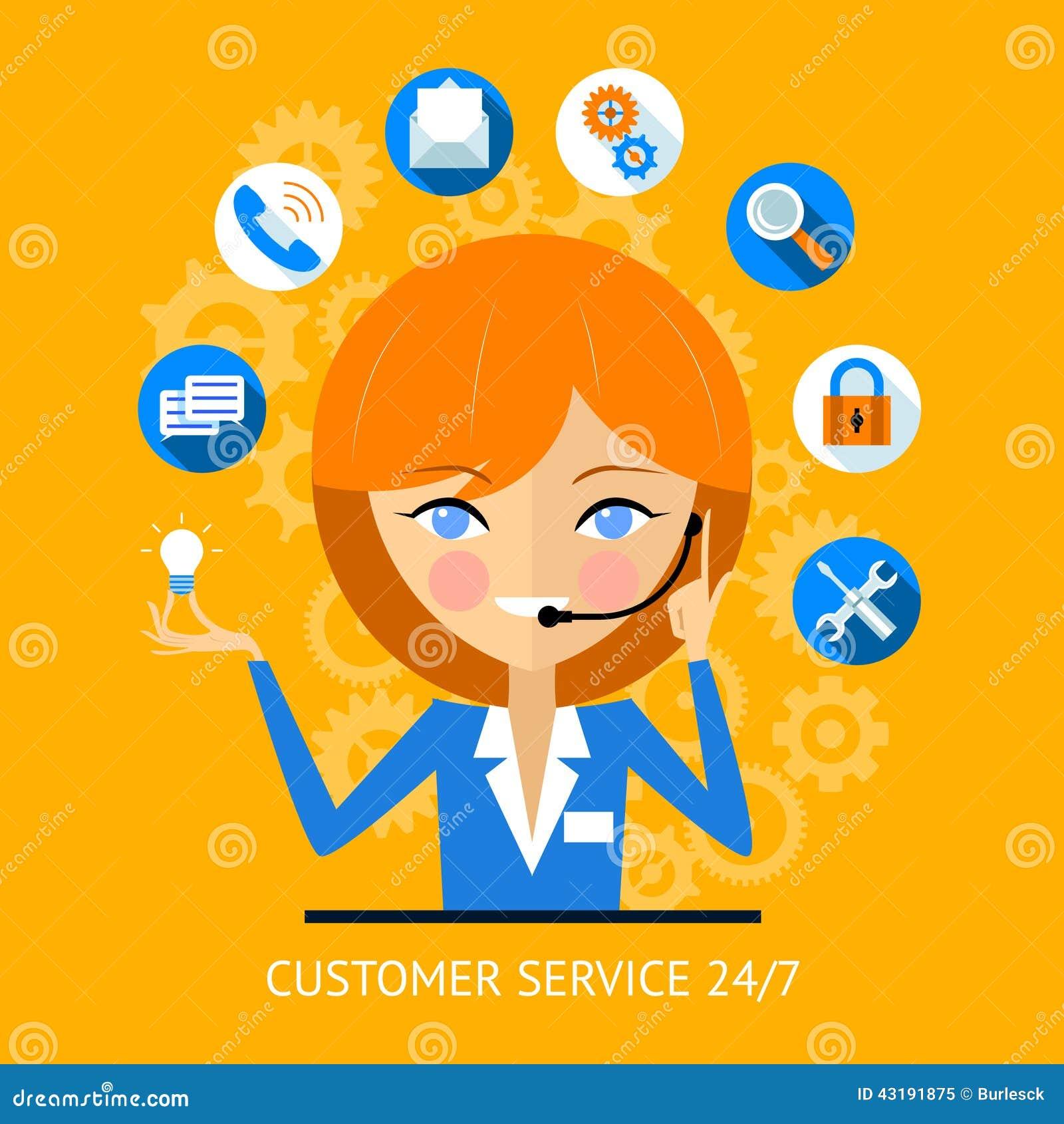 445ead8cfd Customer Service Icon Of A Call Center Girl Stock Vector ...