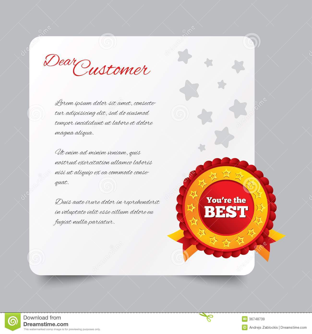 Customer Service Letter Thank You For Buying Stock Illustration
