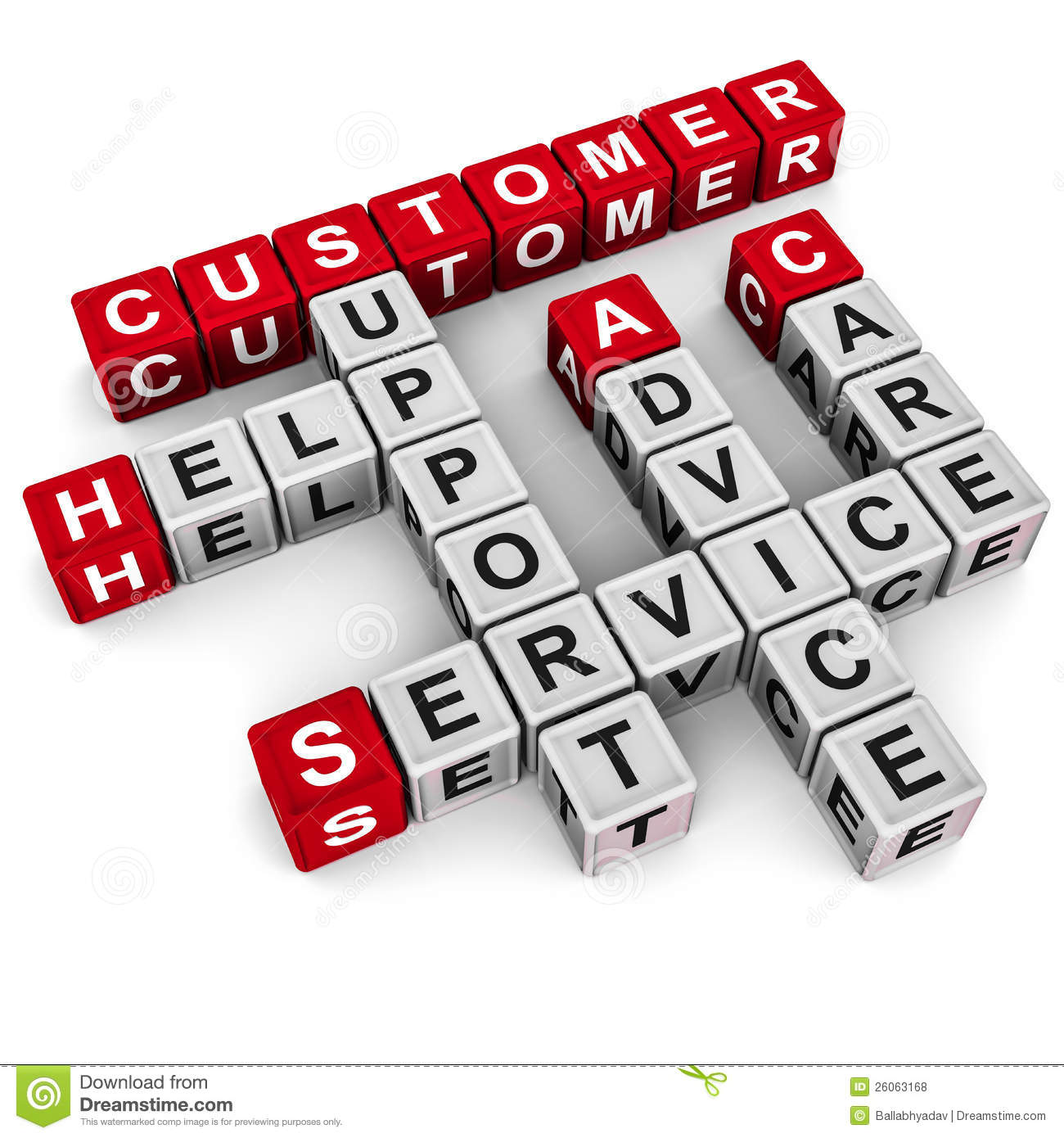 Crossword of customer support words, like care help advice service and