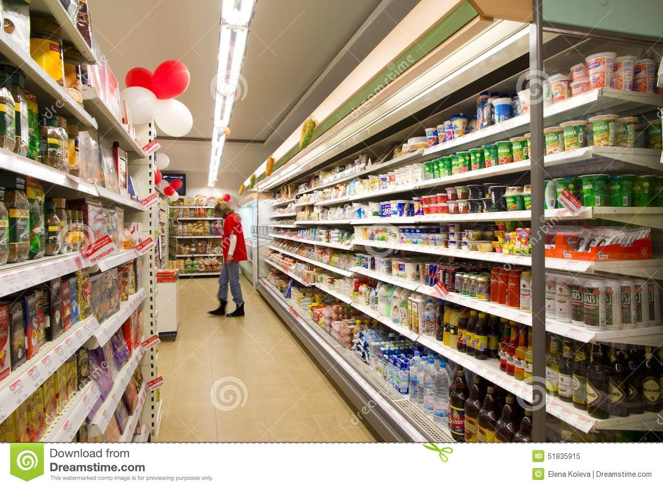 Customer Shopping In Grocery Store Editorial Image - Image ...