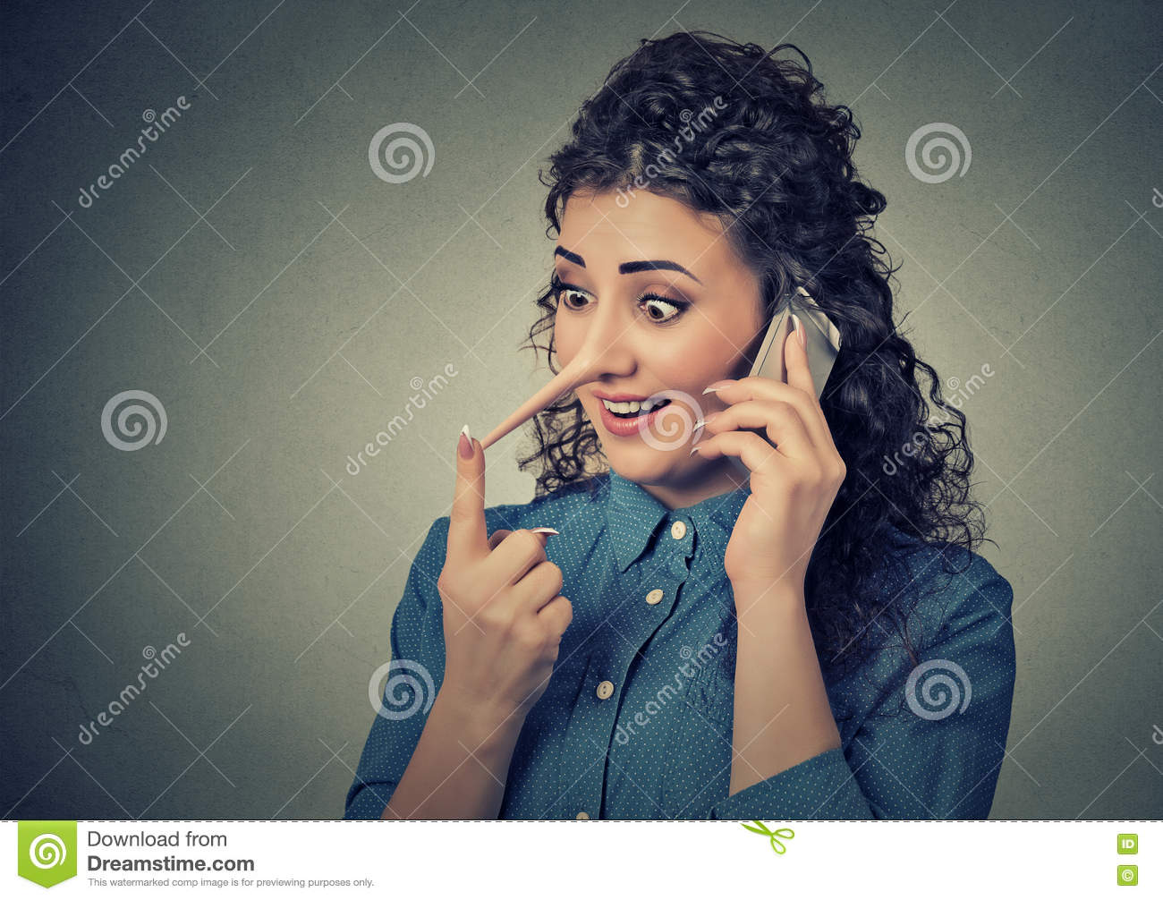 Customer support liar with long nose. Woman talking on mobile phone telling lies