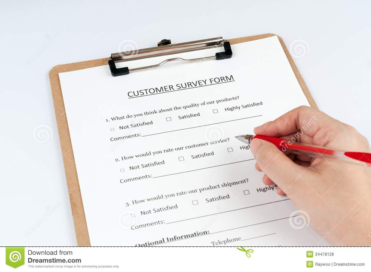Customer Survey Form Royalty Free Stock Photos - Image: 34478128
