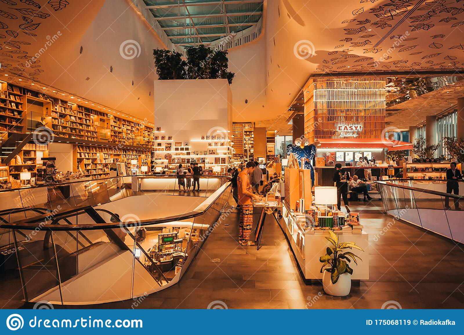 Customers Of The Modern Bookstore Inside The Huge Shopping Mall With Cafe Bookshelves Entertainment Editorial Stock Image Image Of Interest Decoration 175068119