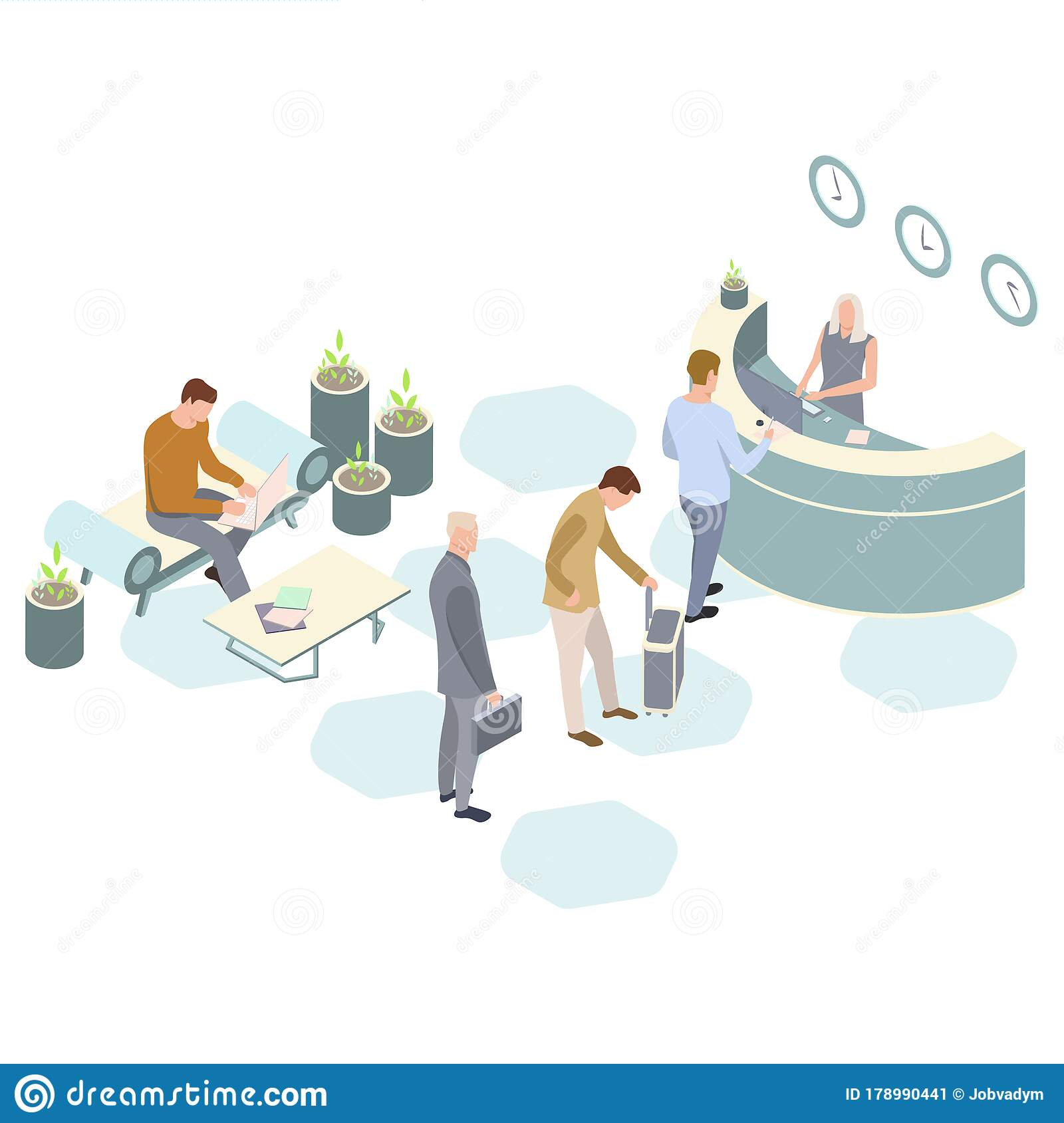 Office Receptiondesign: Isometric Vector Hotel Reception. Receptionists At The