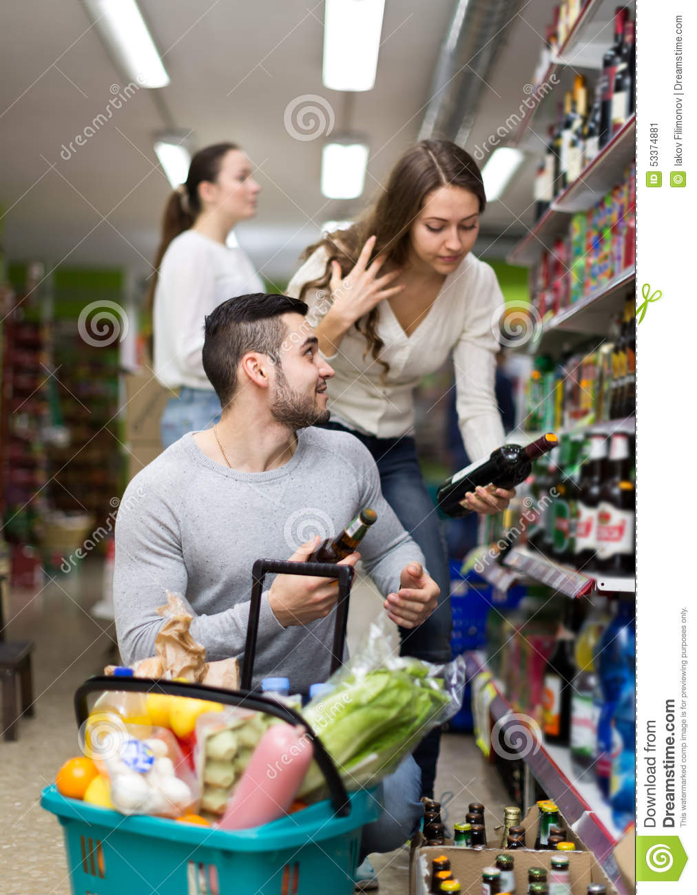 Customers Shopping In Liquor Store Stock Photo - Image ...