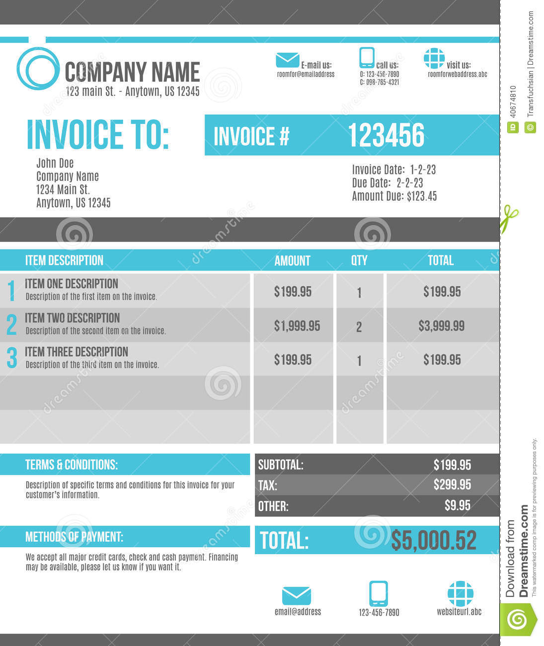 Customizable Invoice Template Design Stock Vector Illustration Of - Customizable invoice